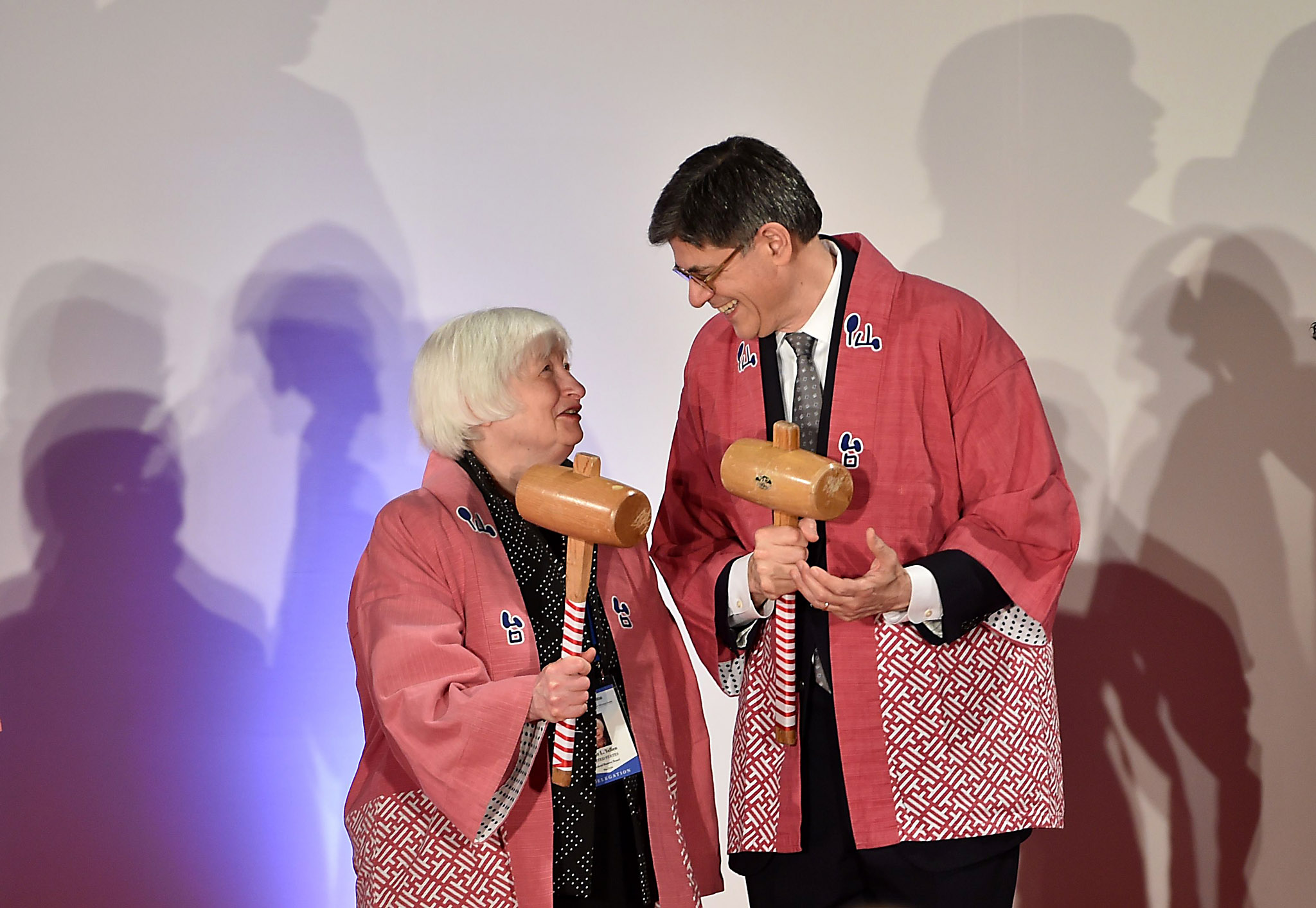 Chair of the Board of Governors of the F...Chair of the Board of Governors of the Federal Reserve System Janet L. Yellen (L) chats with US Secretary of the Treasury Jacob J. Lew (C) during a welcome reception hosted by the City of Sendai on May 19, 2016. The group -- including US Treasury Secretary Jacob Lew and European Central Bank President Mario Draghi -- will converge at a hot spring town north of Tokyo where two days of meetings kick off from May 20. / AFP PHOTO / KAZUHIRO NOGIKAZUHIRO NOGI/AFP/Getty Images