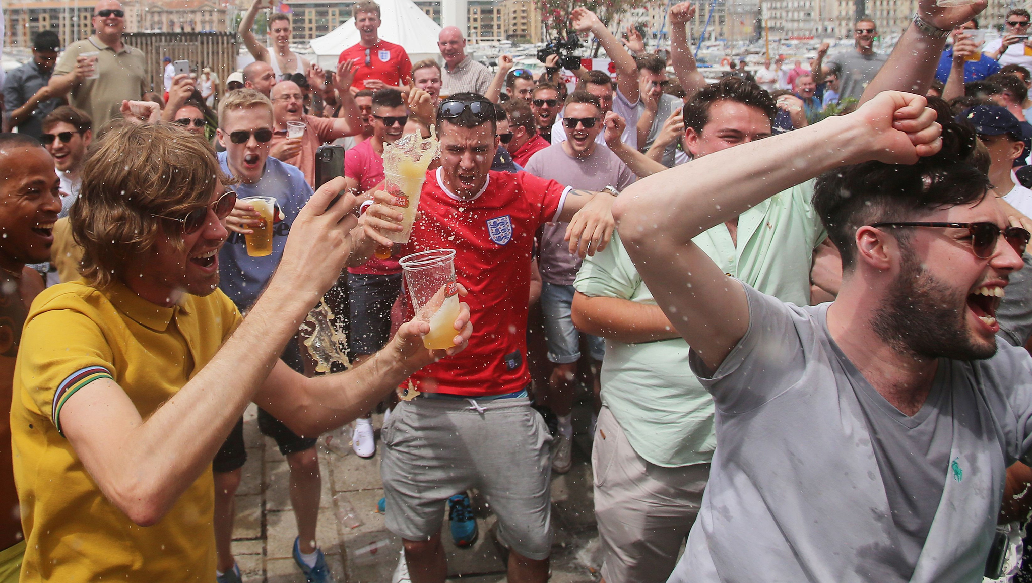 England fans chant in Marseille Old Town, ahead of their team's first match of the Euro 2016 soccer tournament against Russia on Saturday.