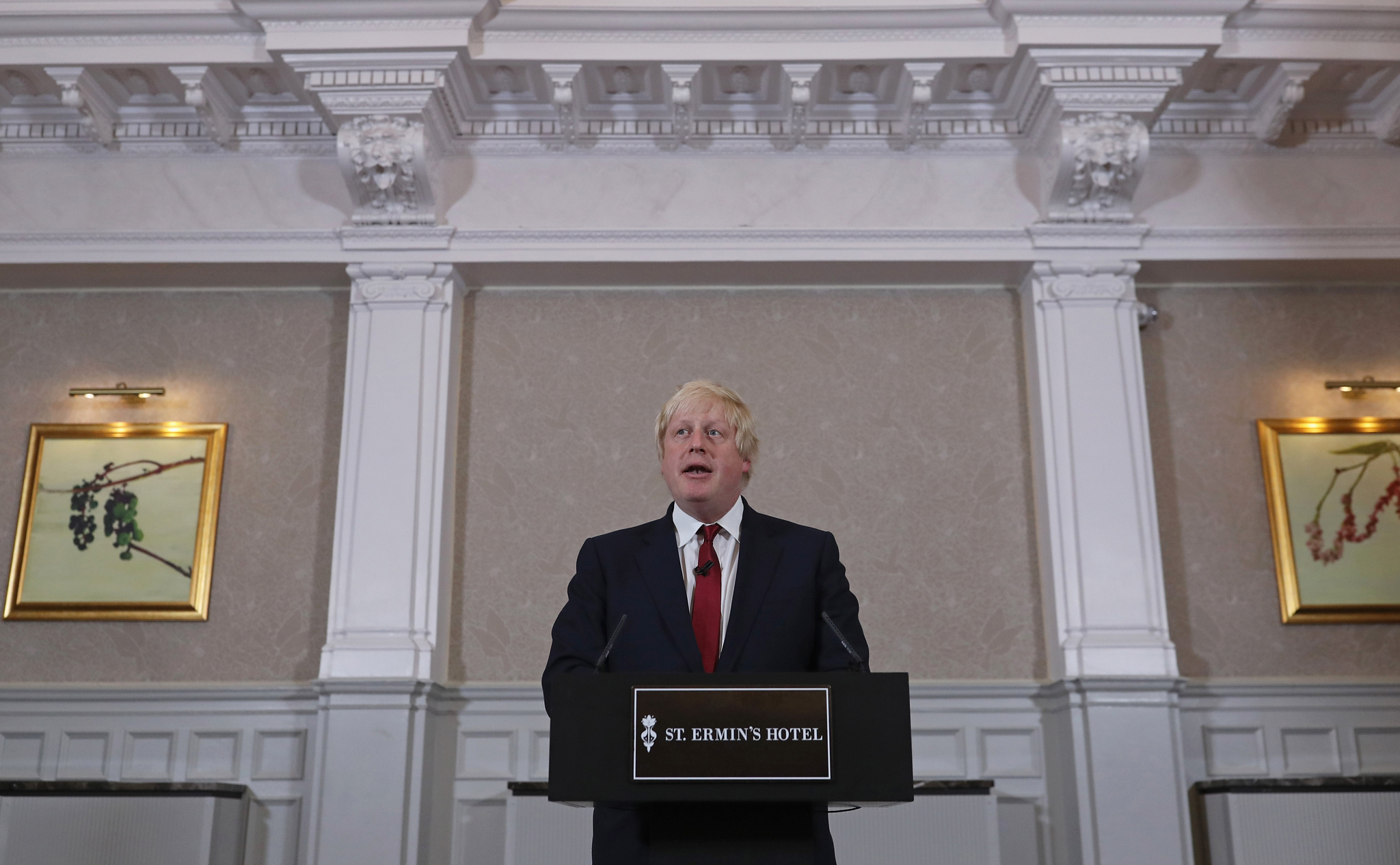 Former London Mayor and Conservative MP Boris Johnson speaks as he rules himself out of becoming the next Conservative party leader at St Ermin's Hotel
