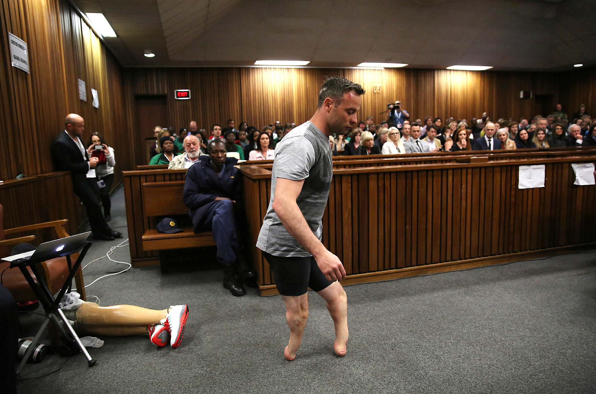 "ATTENTION EDITORS - REUTERS PICTURE HIGHLIGHTParalympic gold medalist Oscar Pistorius walks across the courtroom without his prosthetic legs during the third day of the resentencing hearing for the 2013 murder of his girlfriend Reeva Steenkamp, at Pretoria High Court, South Africa June 15, 2016. REUTERS/Siphiwe SibekoREUTERS NEWS PICTURES HAS NOW MADE IT EASIER TO FIND THE BEST PHOTOS FROM THE MOST IMPORTANT STORIES AND TOP STANDALONES EACH DAY. Search for ""TPX"" in the IPTC Supplemental Category field or ""IMAGES OF THE DAY"" in the Caption field and you will find a selection of 80-100 of our daily Top Pictures.REUTERS NEWS PICTURES. TEMPLATE OUT"