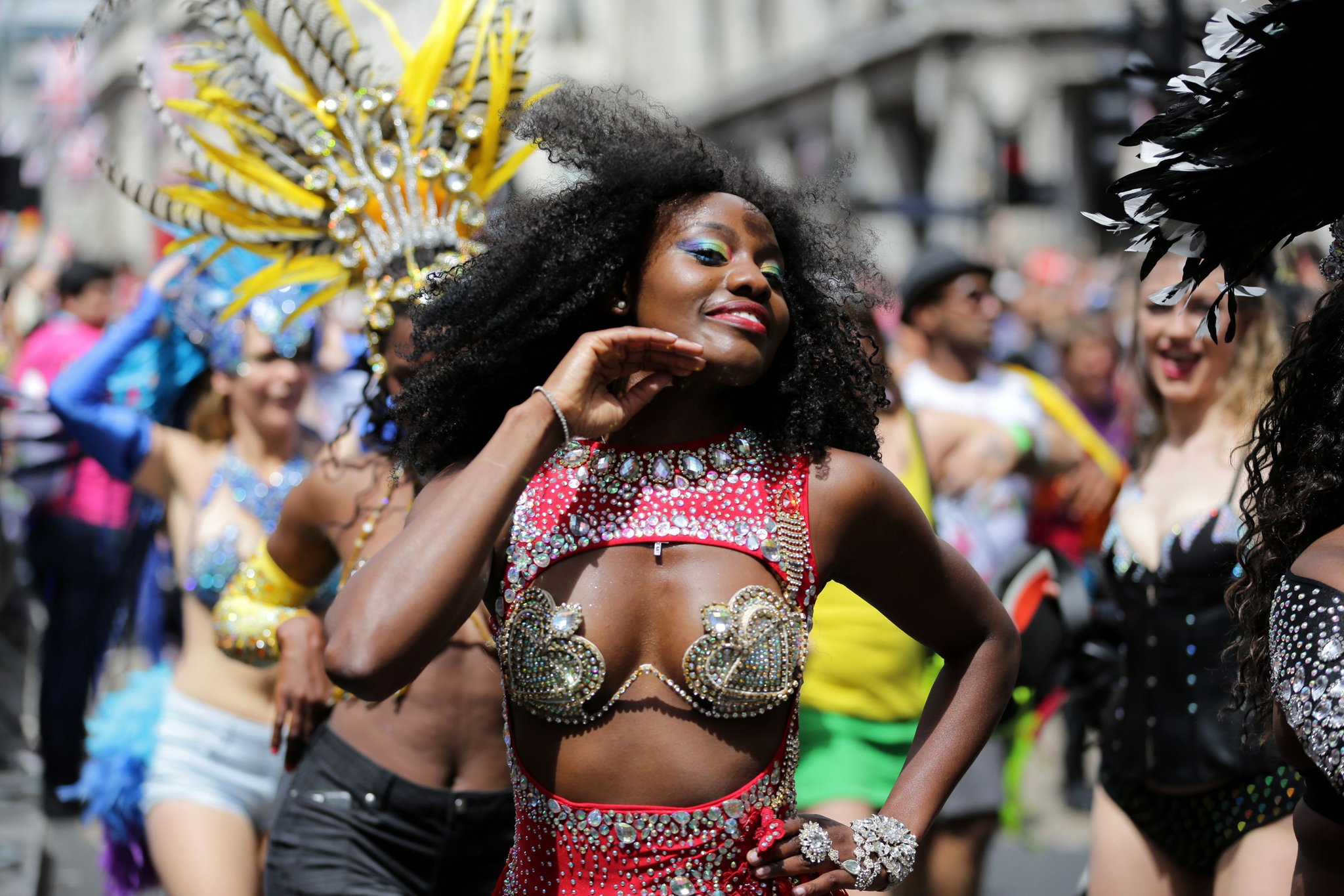 A dancer performing during the Pride in London parade, as it makes its way through the streets of central, London. PRESS ASSOCIATION Photo. Picture date: Saturday June 25, 2016. See PA story POLICE Pride. Photo credit should read: Daniel Leal-Olivas/PA Wire