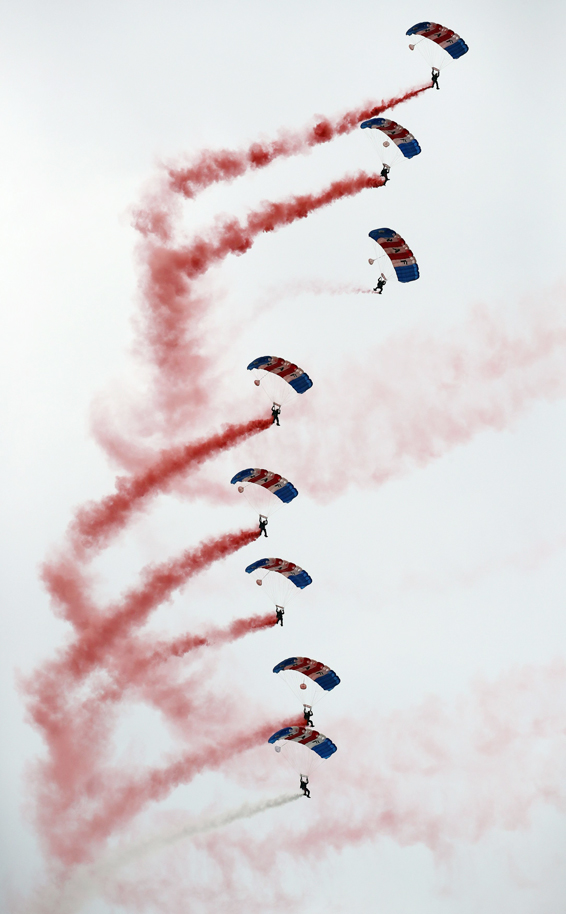 The RAF Falcons display team perform at the Armed Forces Day in Cleethorpes, Lincolnshire. PRESS ASSOCIATION Photo. Picture date: Saturday June 25, 2016. Photo credit should read: Peter Byrne/PA Wire