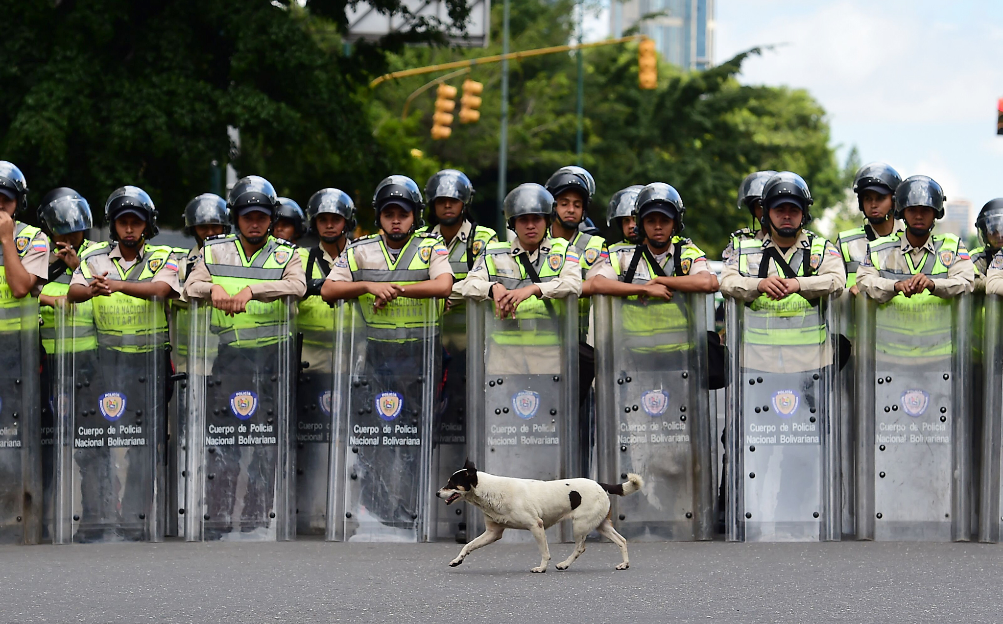 TOPSHOT - Riot police stop students of the public Central University of Venezuela during a demonstration in demand of the referendum on removing President Nicolas Maduro in Caracas on June 09, 2016.  / AFP PHOTO / RONALDO SCHEMIDTRONALDO SCHEMIDT/AFP/Getty Images