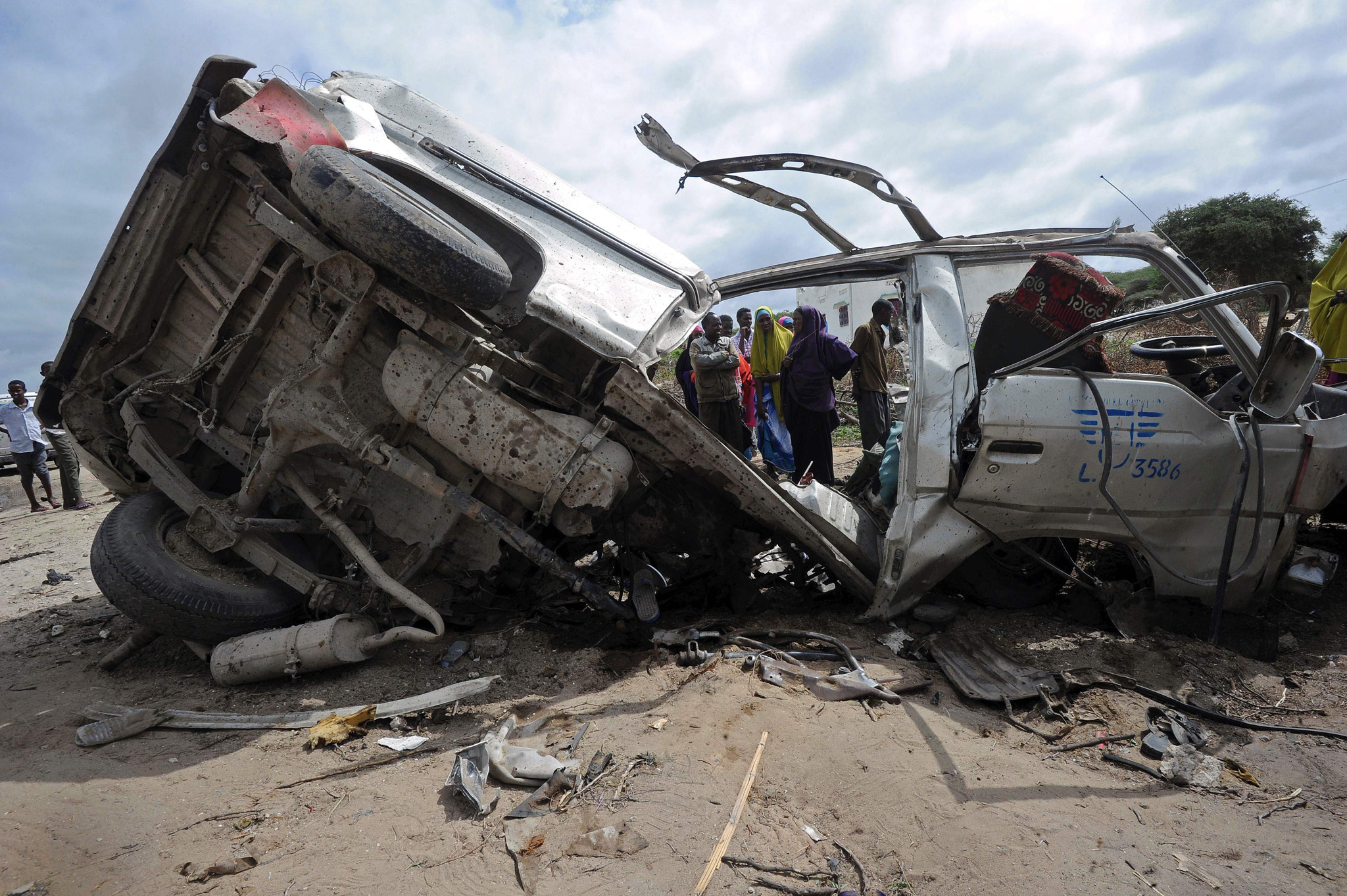 Wreckage of a minibus ripped apart by a landmine just outside Somalia's capital Mogadishu