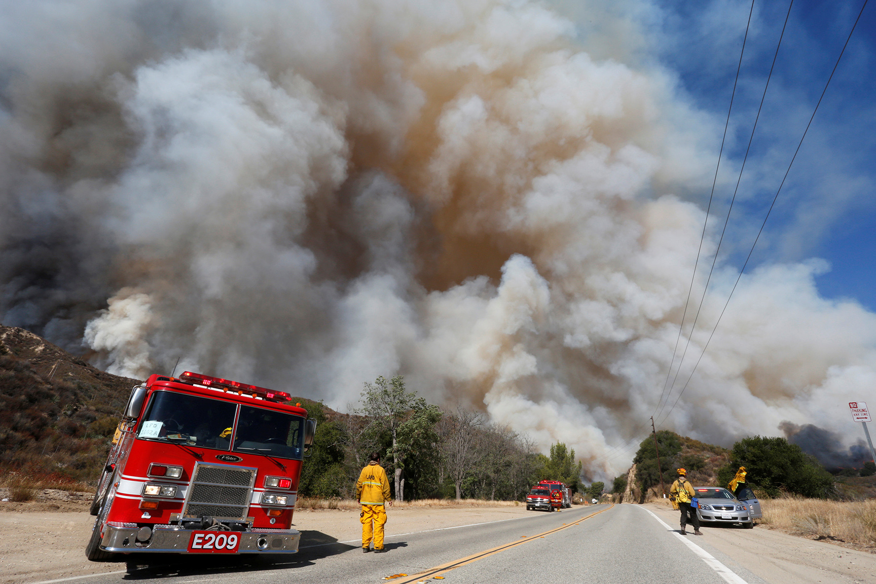 Crews battle the so-called Sand Fire in the Angeles National Forest near Los Angeles, California