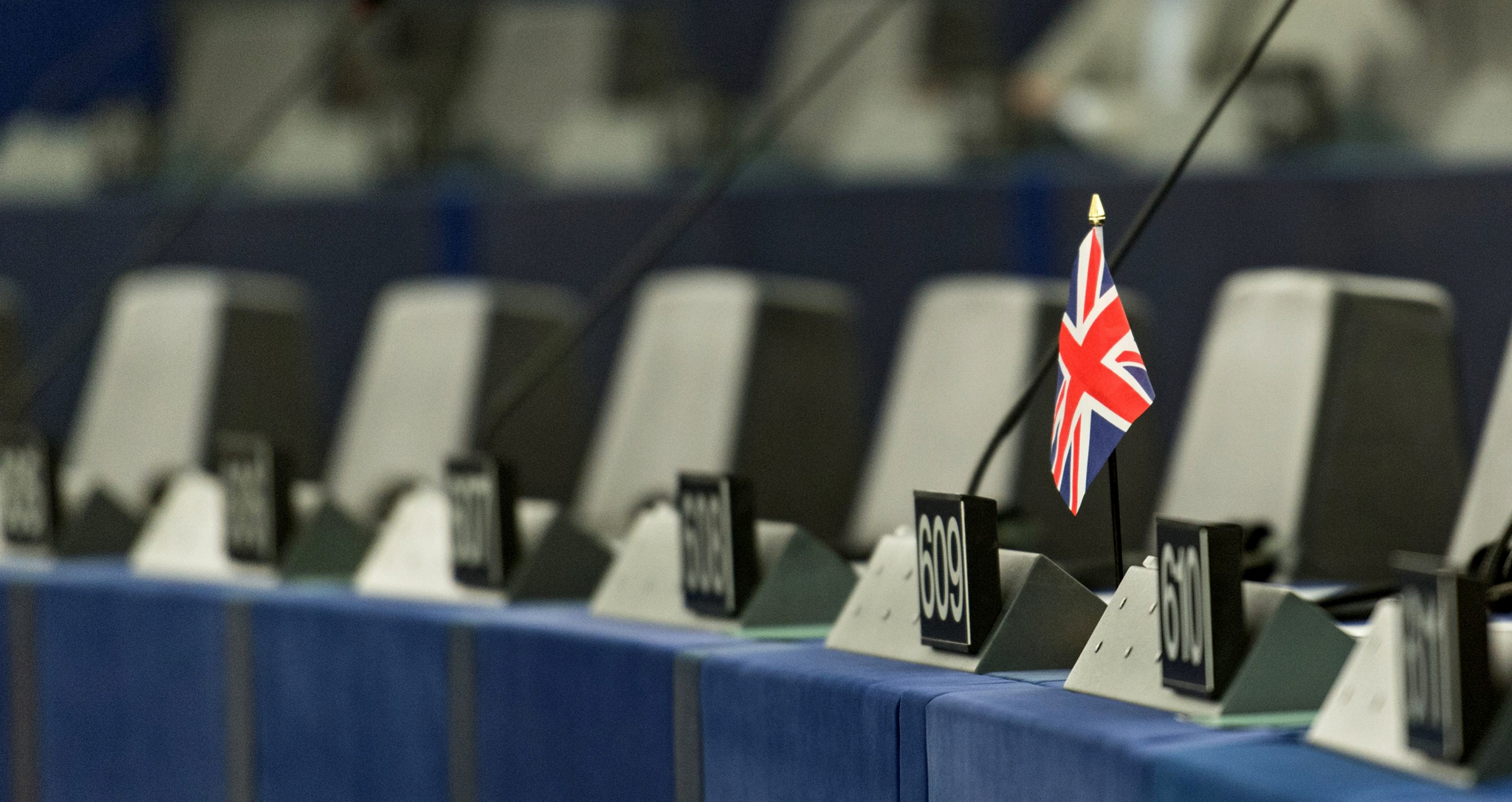 epa05408248 A single British flag sits on a desk during a debate in the European Parliament in Strasbourg, France, 05 July 2016. The European Parliament met to review the Brexit summit conclusions and the past Dutch EU presidency. All member nations of EU take part in the rotating six-month EU presidency that is currently held by Slovakia.  EPA/PATRICK SEEGER