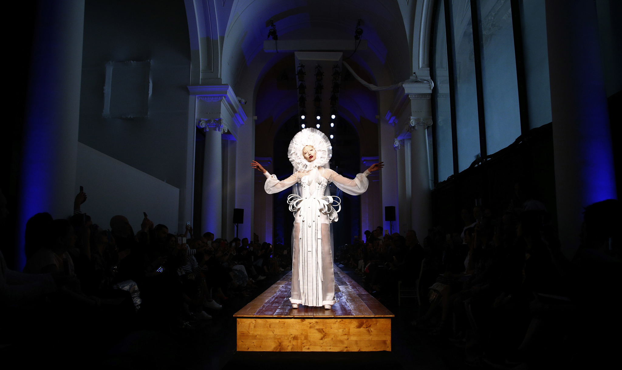 A model wears a creation for Jean-Paul Gaultier's Haute Couture Fall-Winter 2016-2017 fashion collection presented Wednesday, July 6, 2016 in Paris. (AP Photo/Thibault Camus)