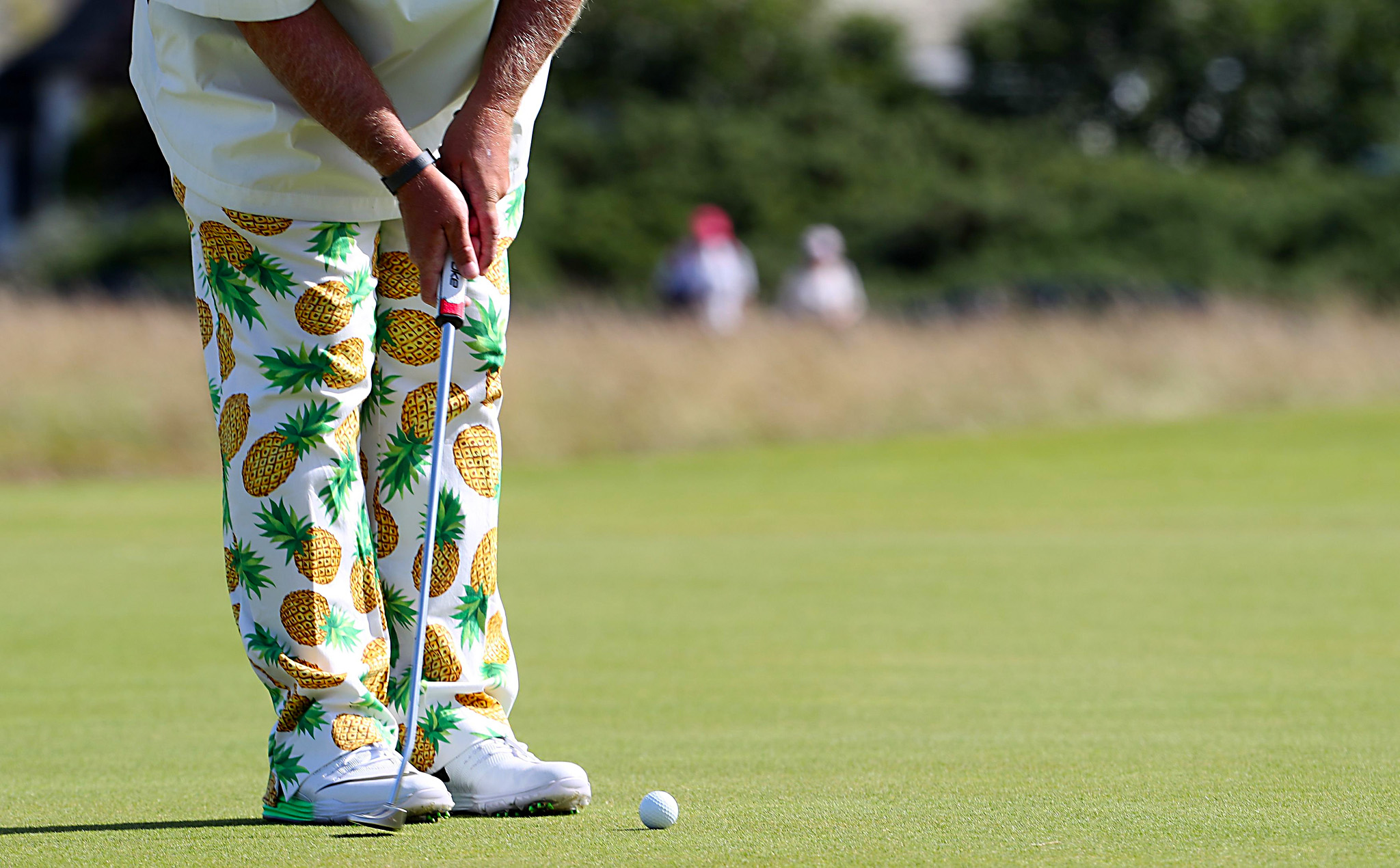 A view of USA's John Daly's trousers during day one of The Open Championship 2016 at Royal Troon Golf Club, South Ayrshire. PRESS ASSOCIATION Photo. Picture date: Thursday July 14, 2016. See PA story GOLF Open. Photo credit should read: Peter Byrne/PA Wire. RESTRICTIONS: Editorial use only. No commercial use. Still image use only. The Open Championship logo and clear link to The Open website (TheOpen.com) to be included on website publishing. Call +44 (0)1158 447447 for further information.