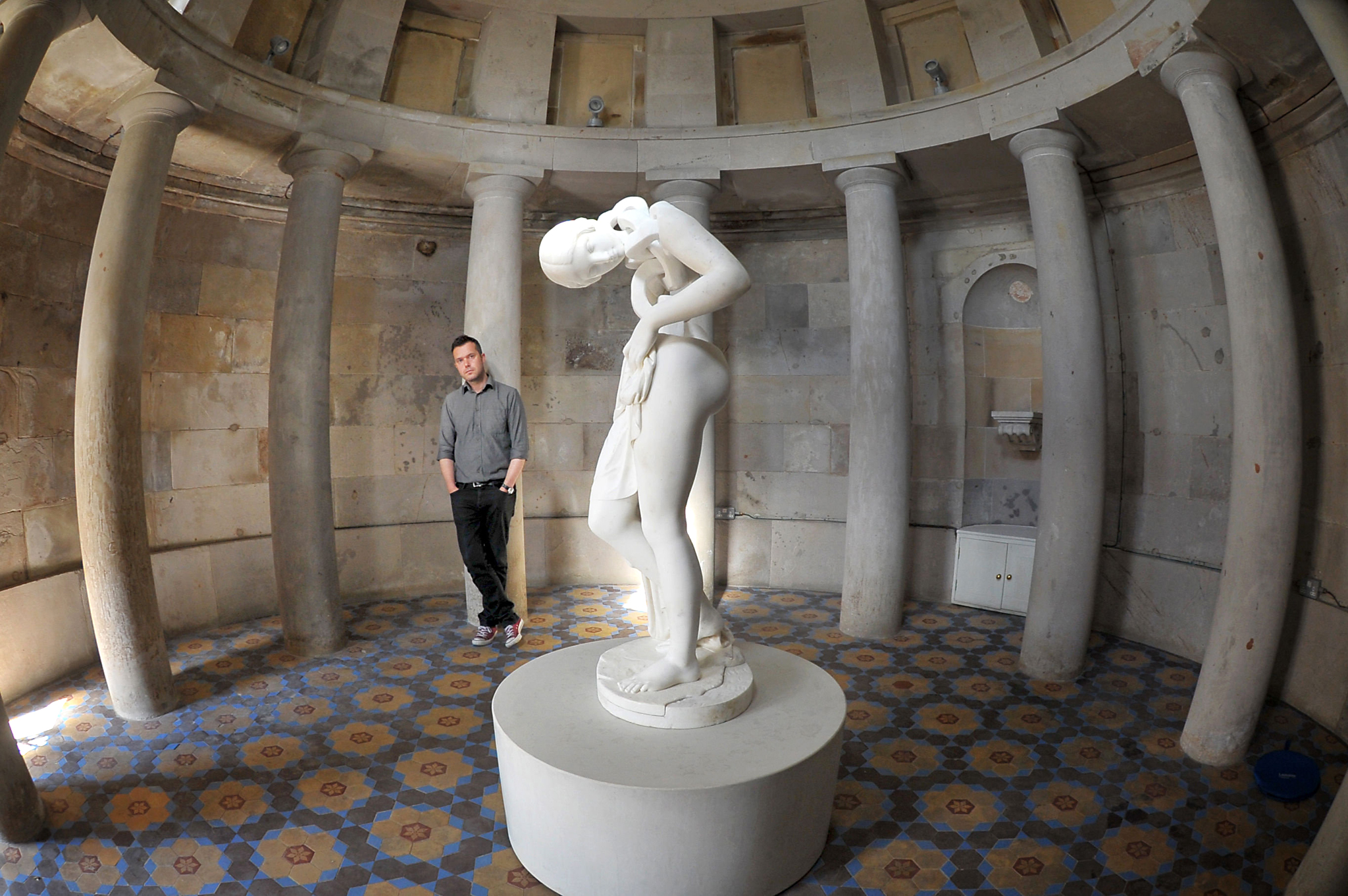 Artist Jonathan Owen unveils a modern interpretation of the female nude, housed in Edinburgh's Burns Monument which is open to the public for the first time in 180 years for the Edinburgh Art Festival 2016. The festival is open to the public between July 28 and August 28. PRESS ASSOCIATION Photo. Picture date: Wednesday July 27, 2016. Photo credit should read: Jane Barlow/PA Wire.