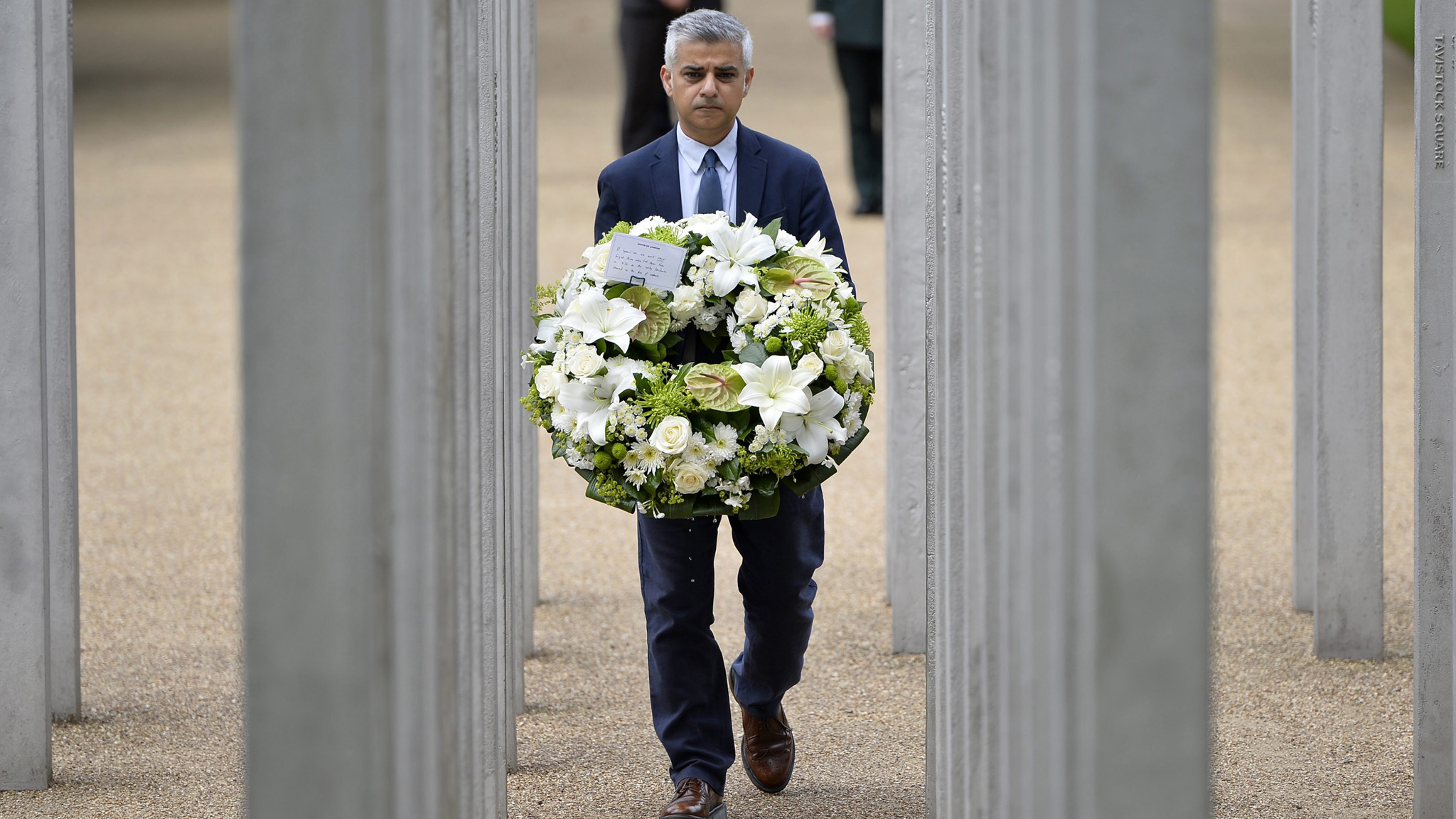 Mayor of London Sadiq Khan lays a wreath at the London bombings 7/7 Memorial at Hyde Park in London, Britain
