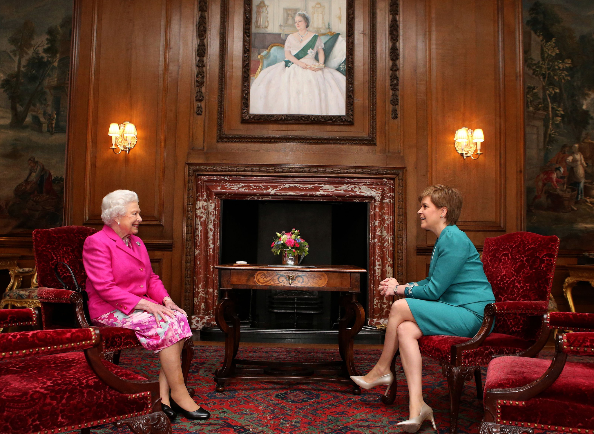 Queen Elizabeth II holds a private audience with  First Minister Nicola Sturgeon at The Palace of Holyroodhouse in Edinburgh