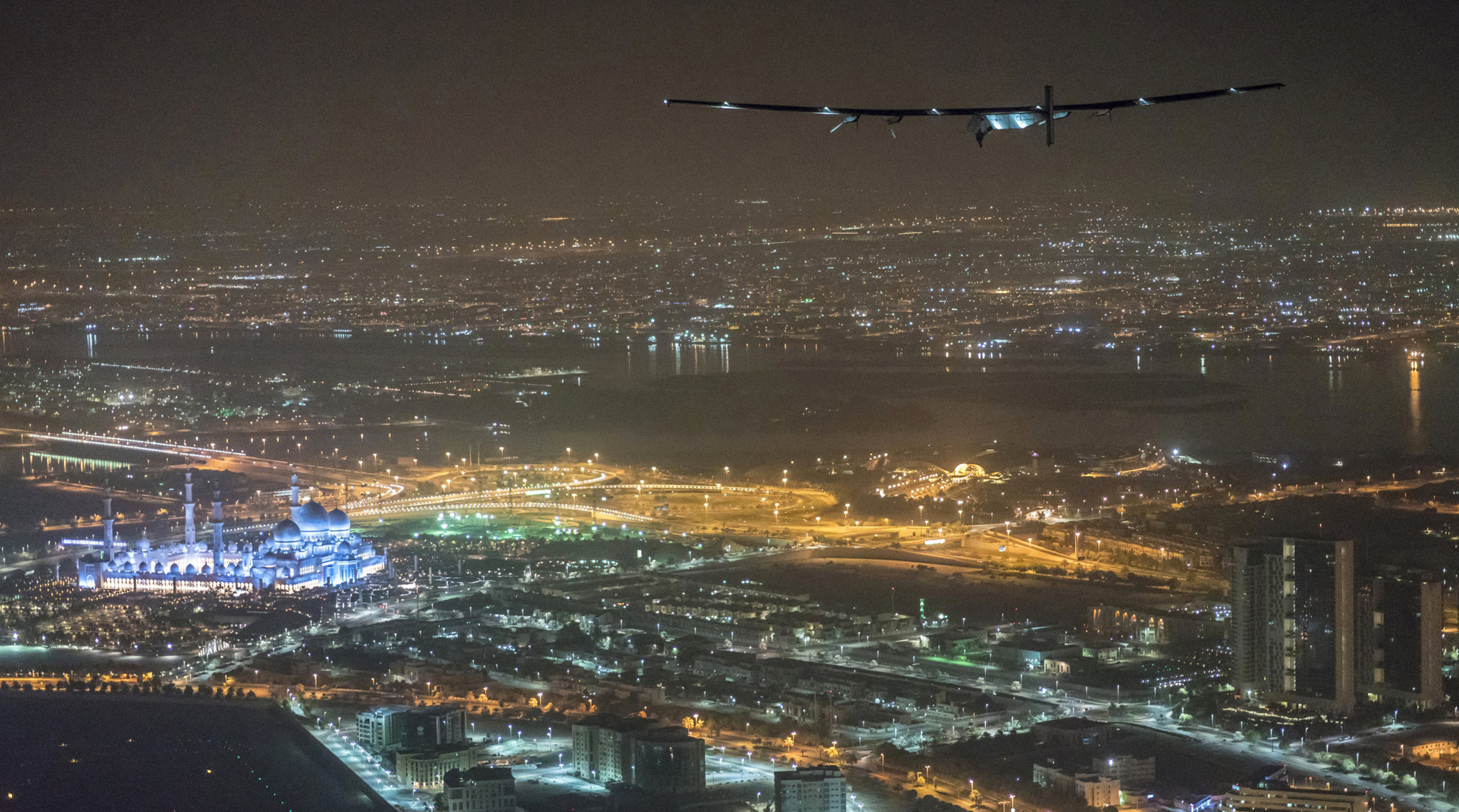 Solar Impulse 2, the solar powered plane, piloted by Swiss pioneer Bertrand Piccard, is seen before landing in Abu Dhabi to finish the first around the world flight without the use of fuel, United Arab Emirates