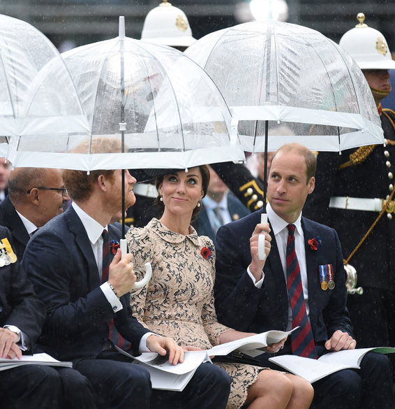 THIEPVAL, FRANCE - JULY 1: Prince Harry, Catherine, Duchess of Cornwall and Prince William, Duke of Cambridge during the Commemoration of the Centenary of the Battle of the Somme at the Commonwealth War Graves Commission Thiepval Memorial on July 1, 2016 in Thiepval, France. The event is part of the Commemoration of the Centenary of the Battle of the Somme at the Commonwealth War Graves Commission Thiepval Memorial in Thiepval, France, where 70,000 British and Commonwealth soldiers with no known grave are commemorated. (Photo by Andrew Matthews - Pool/Getty Images)***BESTPIX***
