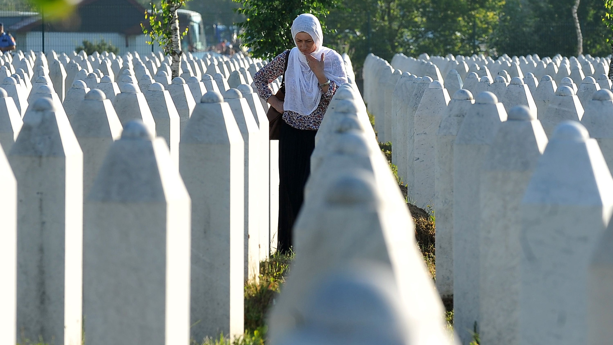 Bosnian town of Srebrenica, on July 11, 2016.  The bodies of 127 victims of the Srebrenica massacre in wartime Bosnia, the latest to be identified of over 8,000 who died, will be buried at the memorial site in Srebrenica on July 11, on the 21th anniversary of the mass killing.  / AFP PHOTO / ELVIS BARUKCICELVIS BARUKCIC/AFP/Getty Images