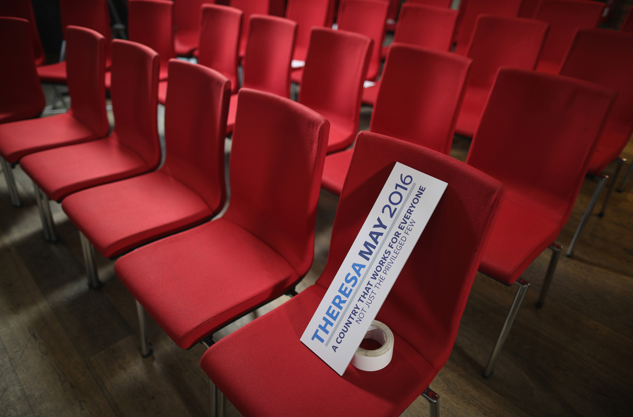 Preparations are seen ahead of British Home Secretary Theresa May launching her Conservative party leadership campaign at the IET events venue on July 11, 2016 in Birmingham, England. Theresa May MP and Andrea Leadsom MP are the last two remaining contenders in the leadership race to be prime minister of the United Kingdom after the resignation of David Cameron.(Photo by Christopher Furlong