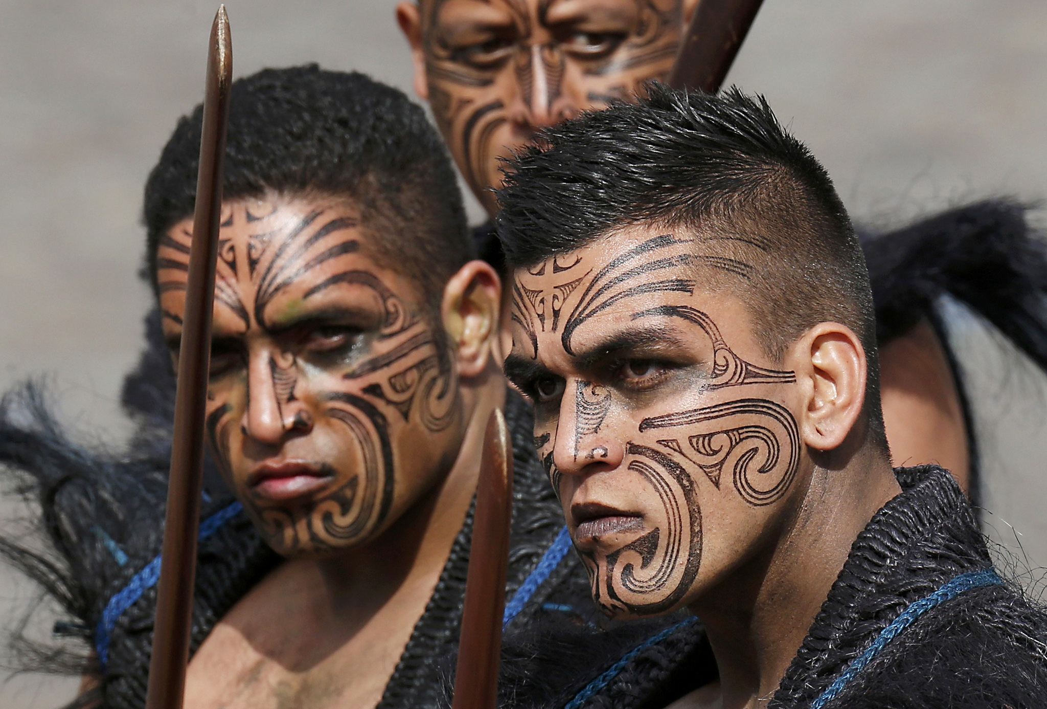Maori warriors from New Zealand take part in the traditional Bastille Day military parade on the Champs Elysees in Paris, France, July 14, 2016.   REUTERS/Benoit Tessier