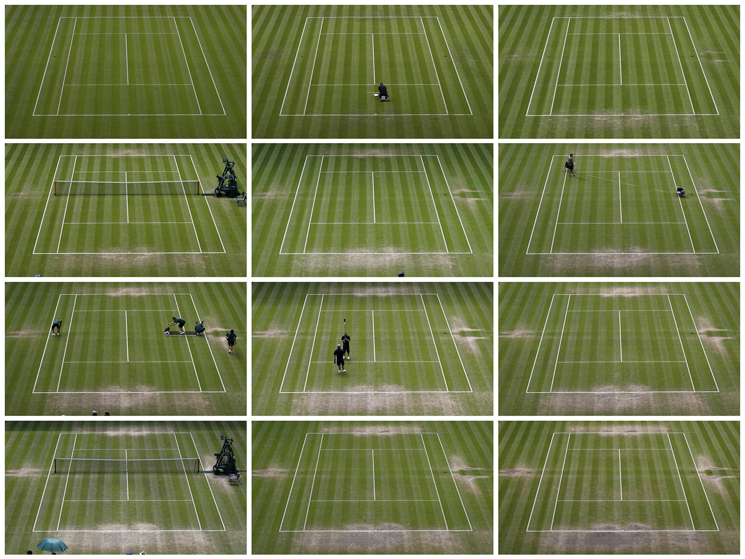 A combination of images show the grass surface of Centre Court at the All England Lawn Tennis and Croquet Club during the Wimbledon Tennis Championships in London