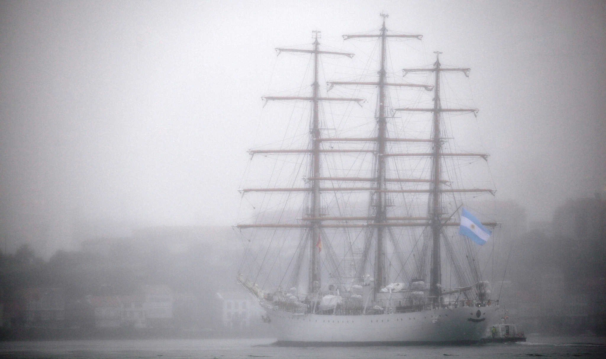 Argentinian Navy's training ship arrives in Spanish Navy port in Ferrol, A Coruna, northwestern Spain, 04 August 2016. The ship is on its 45th teaching trip coinciding with the 200th anniversary of the Declaration of Independence of Argentina.