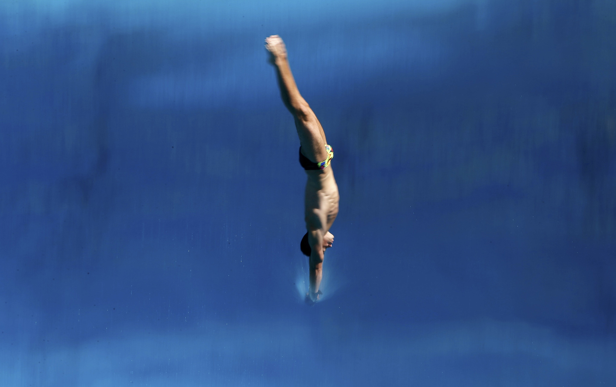 Rio Olympics - Olympic Park - Rio de Janeiro, Brazil - 01/08/2016. A divers practices at the Olympic diving venue.