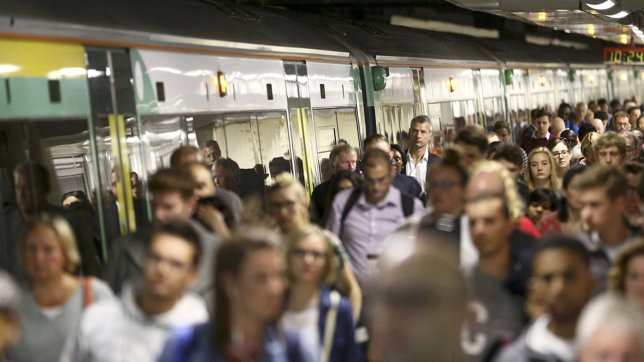 Passengers disembark a Southern train at Victoria Station in London, Britain August 8, 2016.