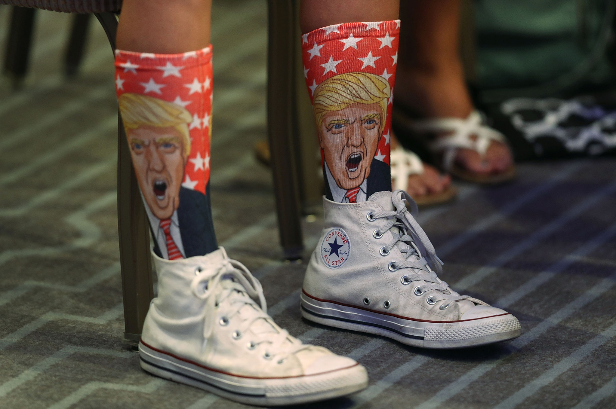 MIAMI BEACH, FL - AUGUST 11:  Republican presidential nominee Donald Trump socks are seen as he speaks during an address to the National Association of Home Builders at the Fontainebleau Miami Beach hotel on August 11, 2016 in Miami Beach, Florida. Trump continued to campaign for his run for president of the United States.  (Photo by Joe Raedle/Getty Images)