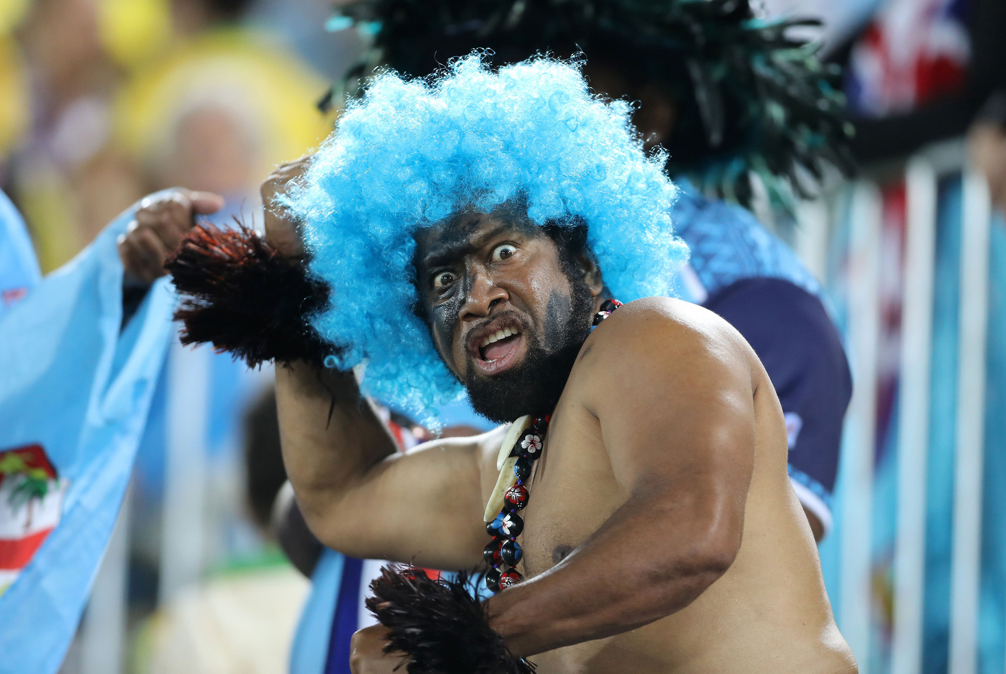 A fan of Fiji celebrates victory after his side won the Rugby Sevens Men's Gold Medal Match between Fiji and Great Britain at the Deodoro Stadium on the sixth day of the Rio Olympic Games, Brazil