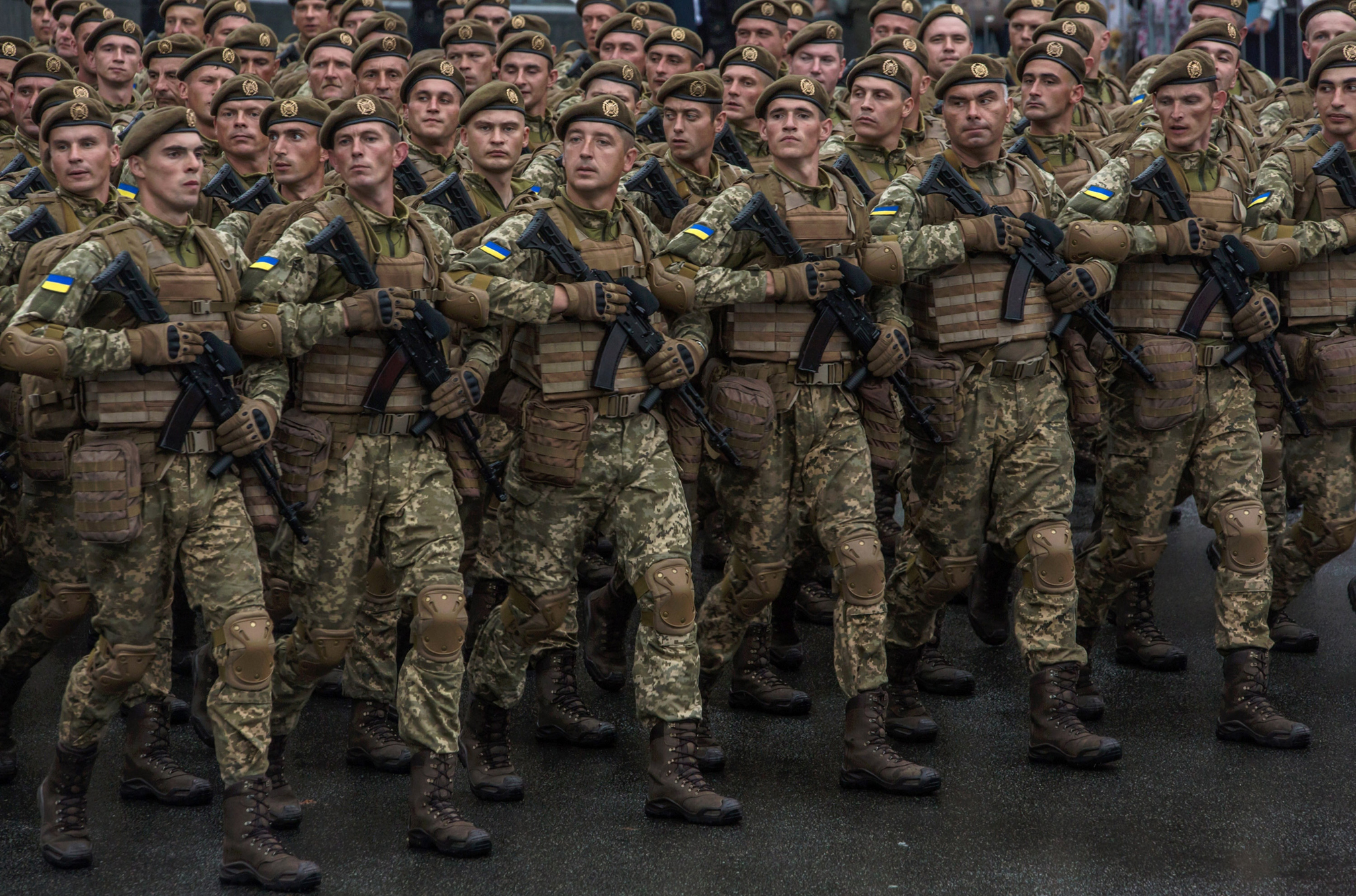 Ukrainian Soldiers rehearse before a military parade held to celebrate the 25th anniversary of Ukraine's independence on August 24, 2016 in Kiev, Ukraine.