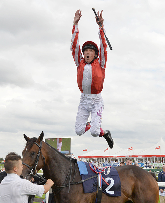 Frankie Dettori celebrates after riding Ardad to victory in the Pepsi Max Flying Childers Stakes during day three of the 2016 Ladbrokes St Leger Festival at Doncaster Racecourse, Doncaster. PRESS ASSOCIATION Photo. Picture date: Friday September 9, 2016. See PA story RACING Doncaster. Photo credit should read: Anna Gowthorpe/PA Wire