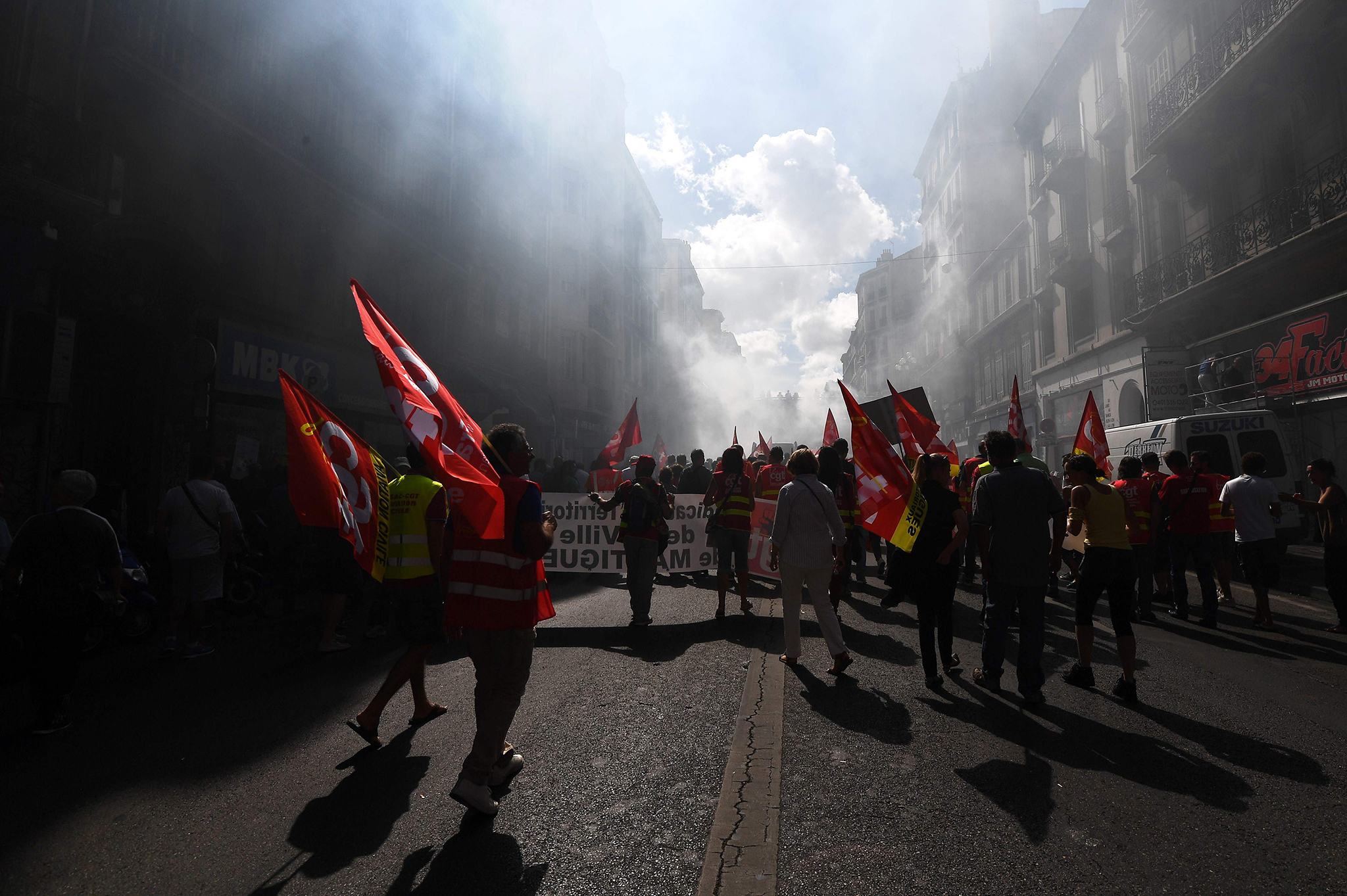 People take part in a demonstration against the French government's labour law reforms, on September 15, 2016 in Marseille, southern France.  / AFP PHOTO / ANNE-CHRISTINE POUJOULATANNE-CHRISTINE POUJOULAT/AFP/Getty Images