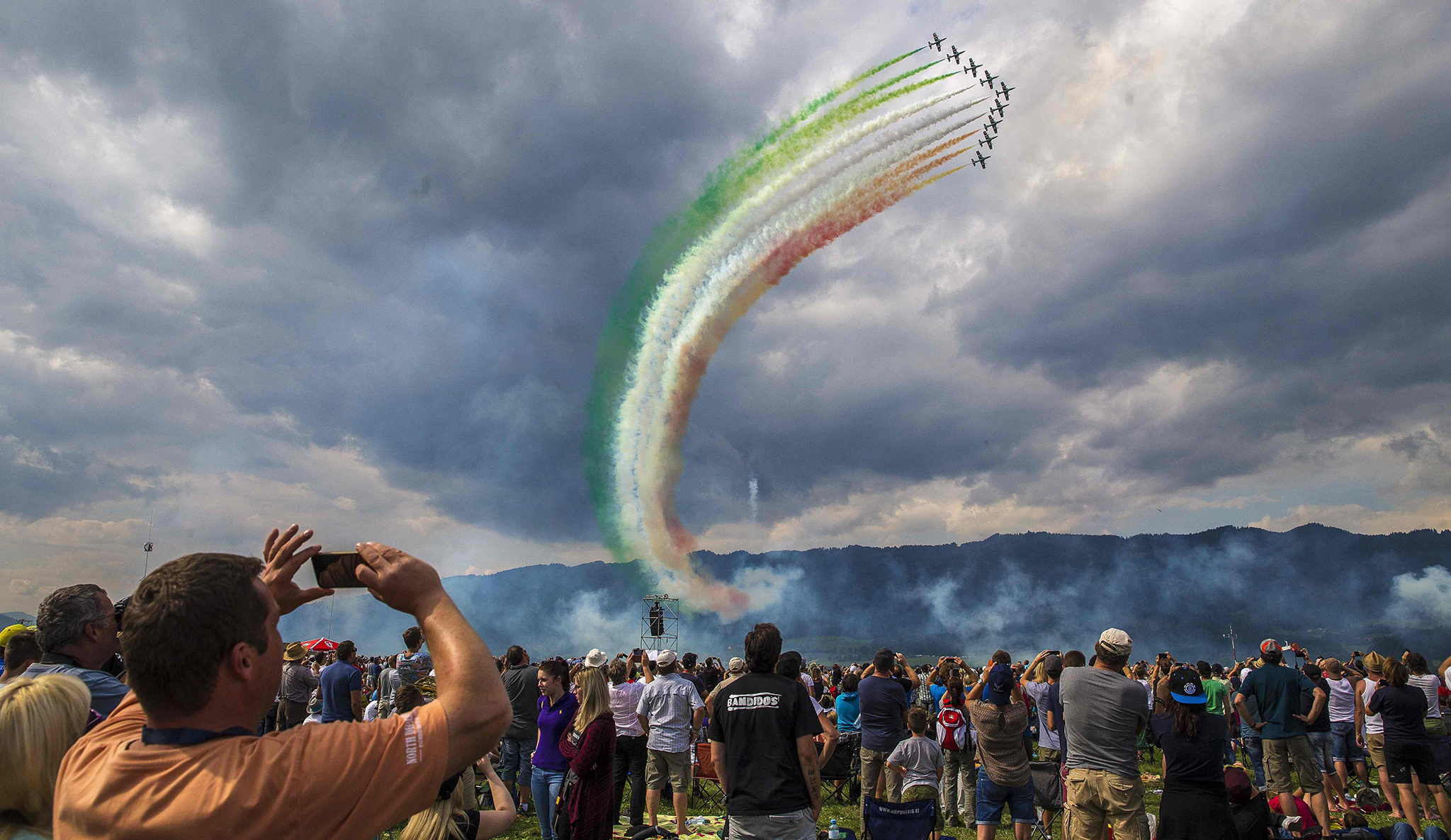 "The squad of Frecce Tricolori from the Italian Airforce performs during the Airshow ""Airpower 16"" on September 2, 2016, in Zeltweg."