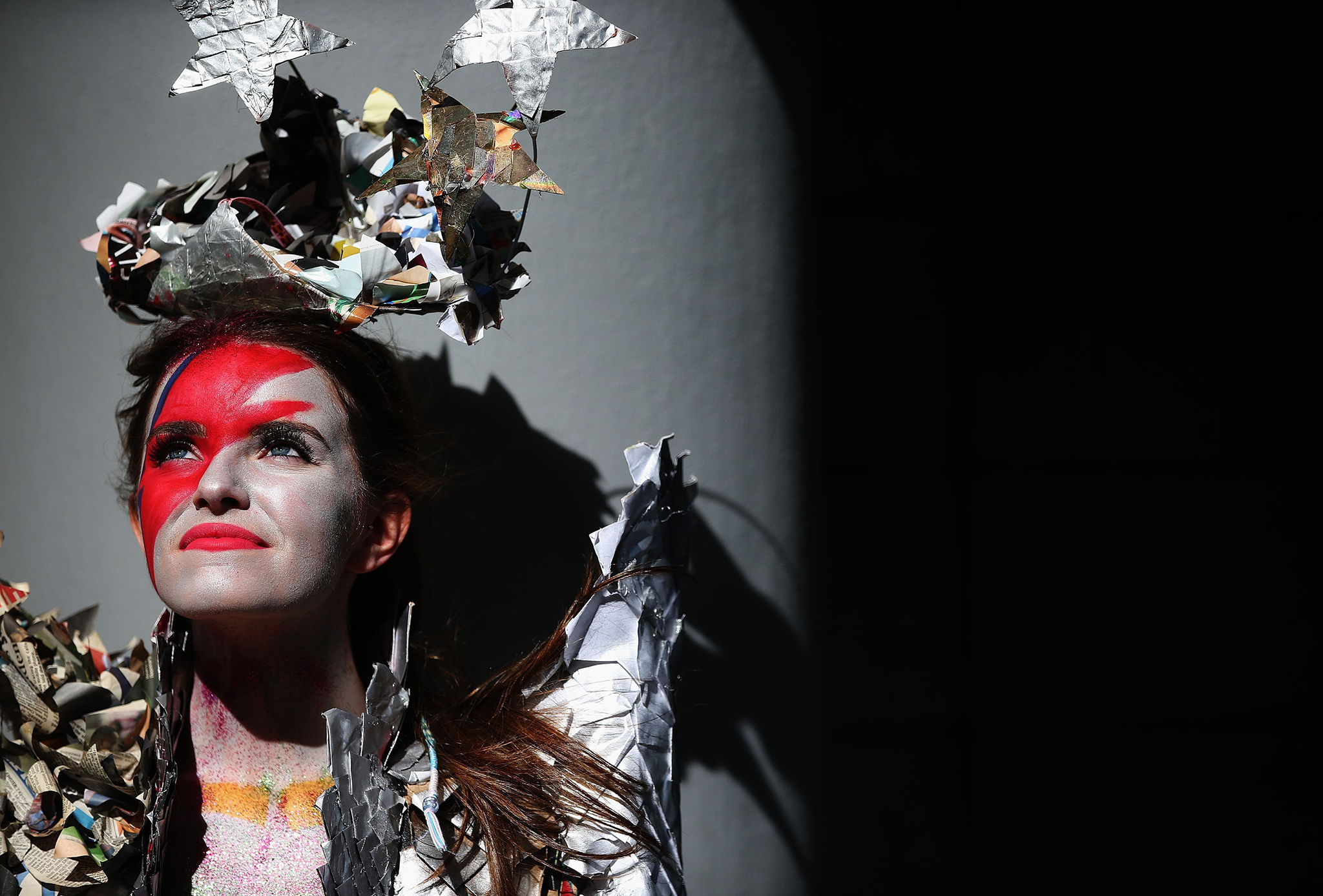The 2016 Junk Kouture Eastern winner Rebecca McNally wears 'A Tribute to Ziggy Stardust' during the Bank of Ireland Junk Kouture 2017 contest launch at Charlotte Quay in Dublin. PRESS ASSOCIATION Photo. Picture date: Thursday September 8, 2016. The contest is Ireland's recycled fashion competition for secondary school students which invites young people to design and create works of fashion art from recyclable materials. Photo credit should read: Brian Lawless/PA Wire