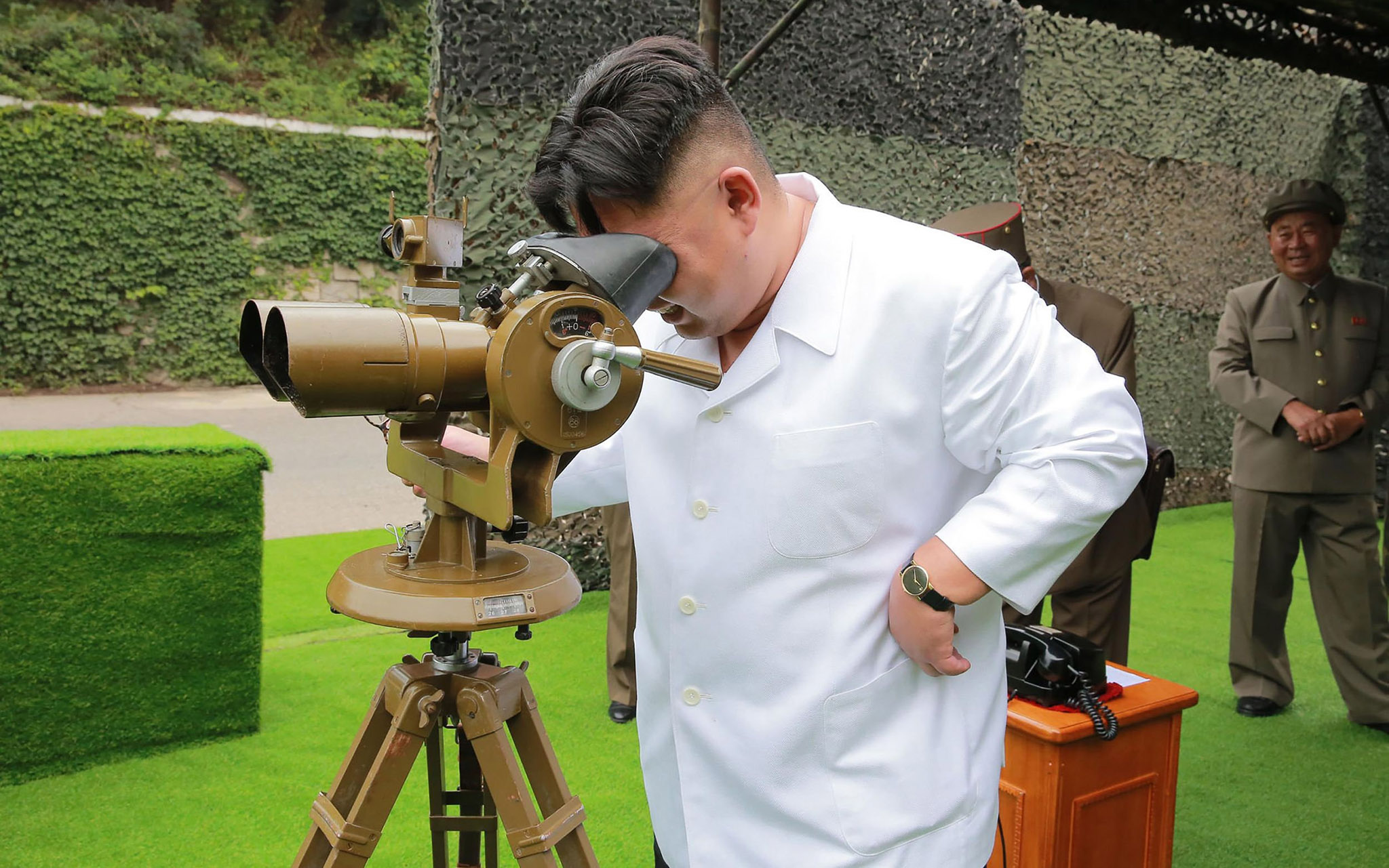 "This undated picture released from North Korea's official Korean Central News Agency (KCNA) on September 6, 2016 shows North Korean leader Kim Jong-Un inspecting the fire drill of ballistic rockets by Hwasong artillery units of the KPA Strategic Force at an undisclosed location in North Korea. / AFP PHOTO / KCNA VIA KNS / KCNA /  - South Korea OUT / REPUBLIC OF KOREA OUT   ---EDITORS NOTE--- RESTRICTED TO EDITORIAL USE - MANDATORY CREDIT ""AFP PHOTO/KCNA VIA KNS"" - NO MARKETING NO ADVERTISING CAMPAIGNS - DISTRIBUTED AS A SERVICE TO CLIENTS THIS PICTURE WAS MADE AVAILABLE BY A THIRD PARTY. AFP CAN NOT INDEPENDENTLY VERIFY THE AUTHENTICITY, LOCATION, DATE AND CONTENT OF THIS IMAGE. THIS PHOTO IS DISTRIBUTED EXACTLY AS RECEIVED BY AFP.  / KCNA/AFP/Getty Images"