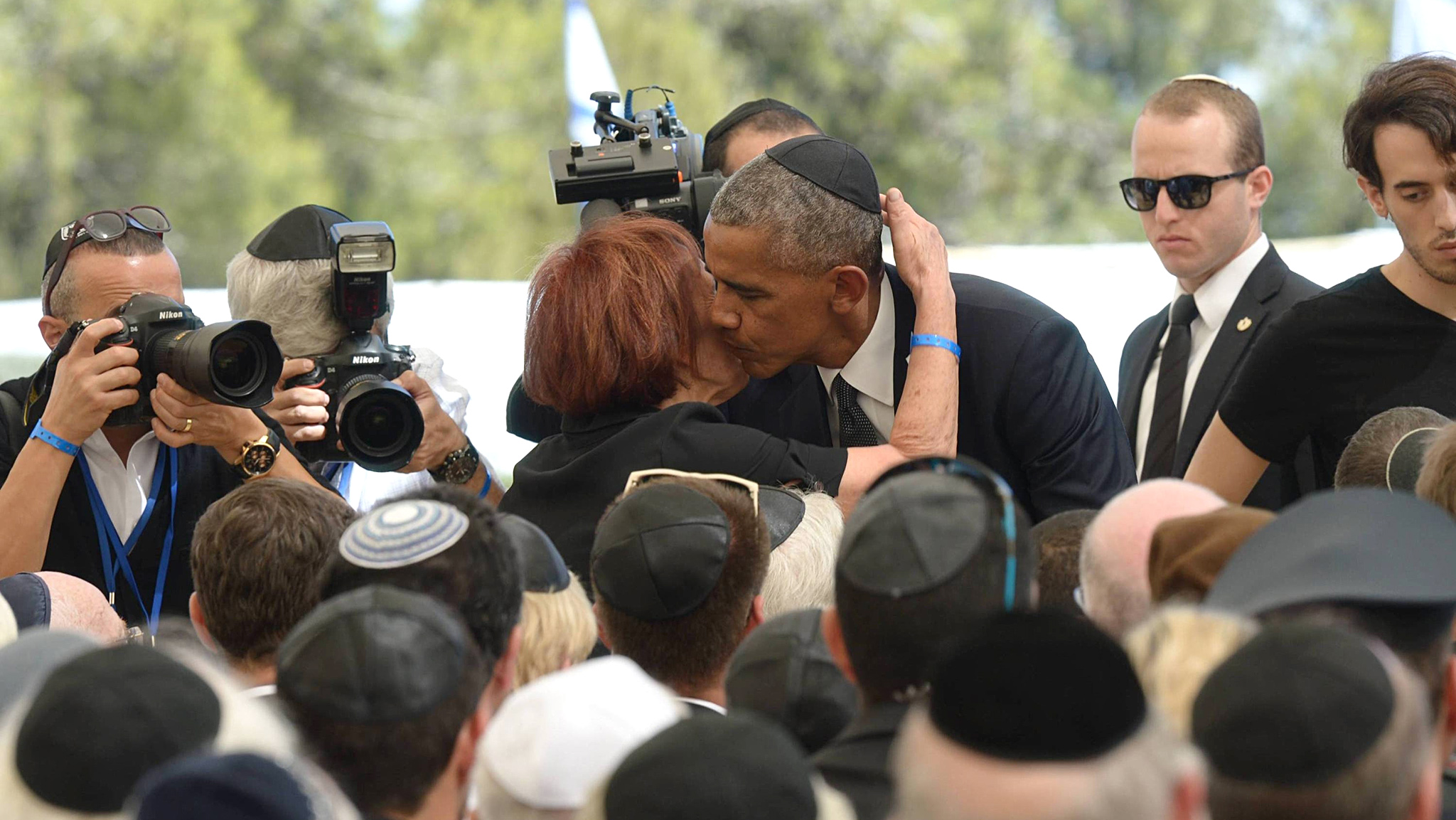 In this handout photo provided by the Israel Government Press Office (GPO), U.S President Barack Obama and Shimon Peres' daughter Tsvia Walden attend the funeral ceremony held for the former Israeli leader Shimon Peres at Mount Herzl on September 30, 2016 in Jerusalem, Israel.  World leaders and dignitaries from 70 countries attended the state funeral of Israel's ninth president, Shimon Peres, in Jerusalem on Friday, after thousands of Israelis paid their last respects to the elder statesman who died on Wednesday.  (Photo by Amos Ben Gershom/GPO via Getty Images)