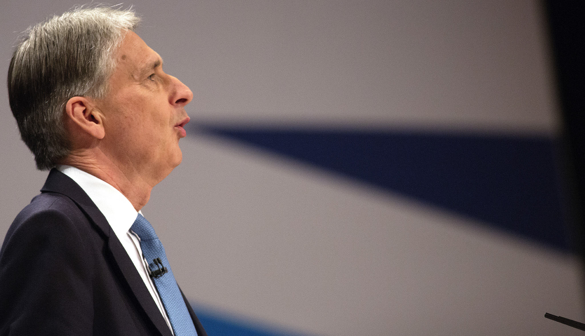 Chancellor of the Exchequer, Philip  Hammond, makes his keynote speech at the conservative conference in Birmingham