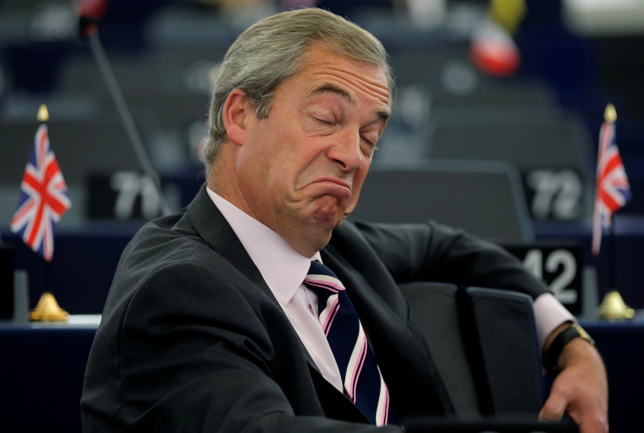 Nigel Farage, United Kingdom Independence Party (UKIP) member and MEP, waits for the start of a debate on the last European Summit at the European Parliament in Strasbourg, France, October 26, 2016.   REUTERS/Vincent Kessler      TPX IMAGES OF THE DAY