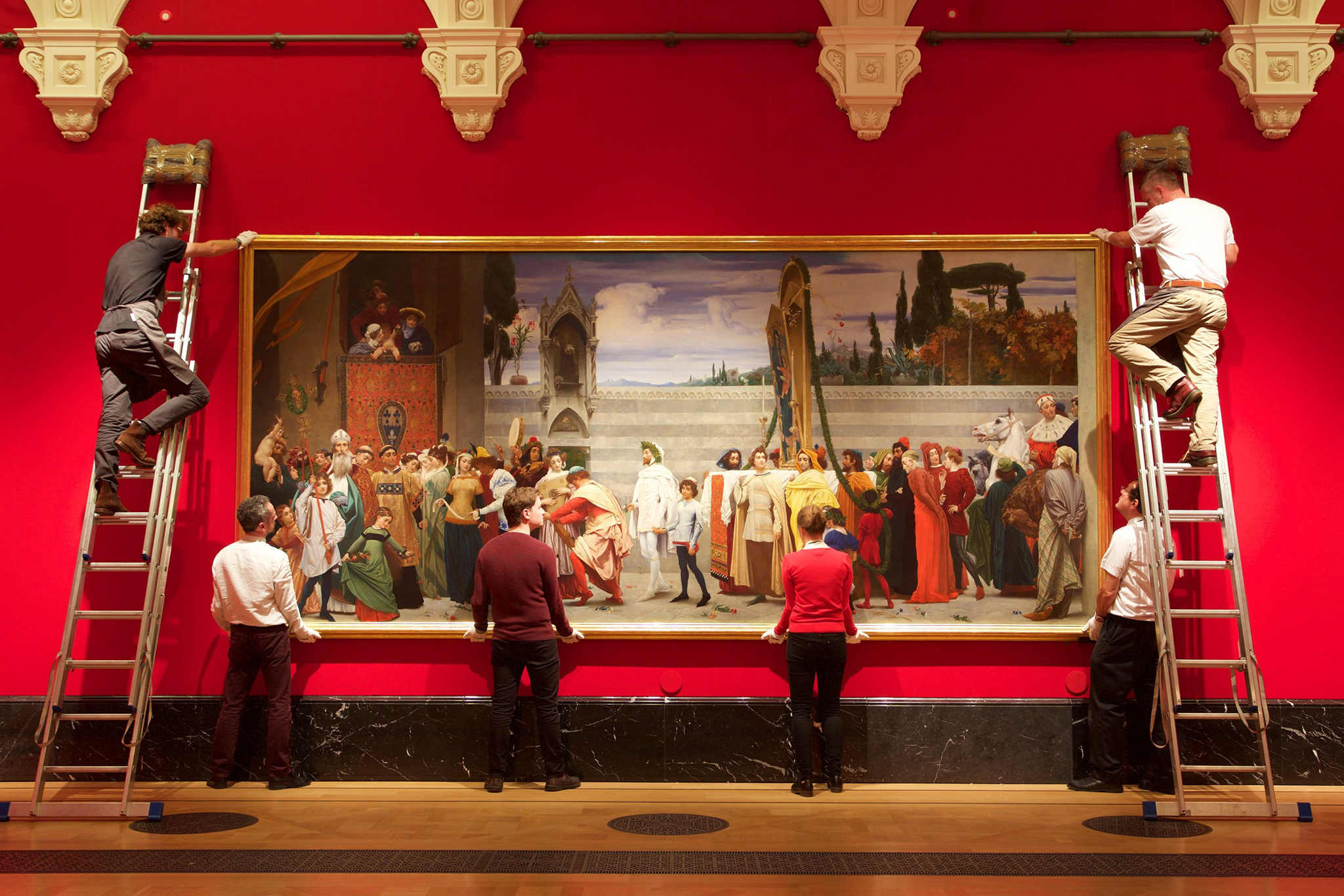 Cimabue's Madonna Carried in Procession (c.1853-5) , painted by Frederic Leighton, is installed in The Queen's Gallery at Buckingham Palace for the exhibition Portrait of the Artist, which opens on Friday, 4 November 2016. PRESS ASSOCIATION Photo. Issue date: Thursday October 20, 2016. Photo credit should read: James Robinson/Royal Collection Trust/Her Majesty Queen Elizabeth II 2016/PA Wire  NOTE TO EDITORS: This handout photo may only be used in for editorial reporting purposes for the contemporaneous illustration of events, things or the people in the image or facts mentioned in the caption. Reuse of the picture may require further permission from the copyright holder.