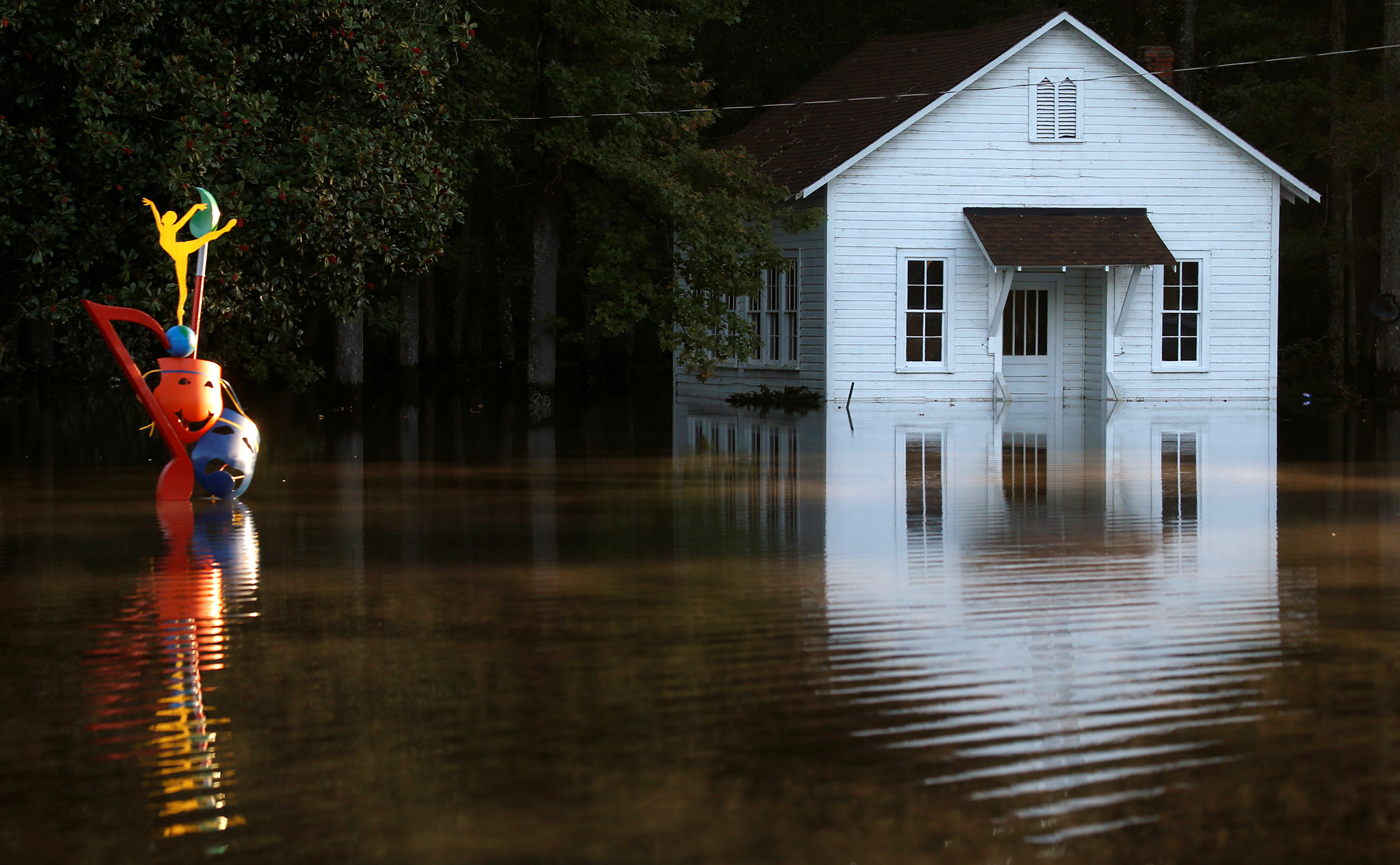A flooded building is pictured after Hurricane Matthew passes in Lumberton, North Carolina, U.S., October 11, 2016.