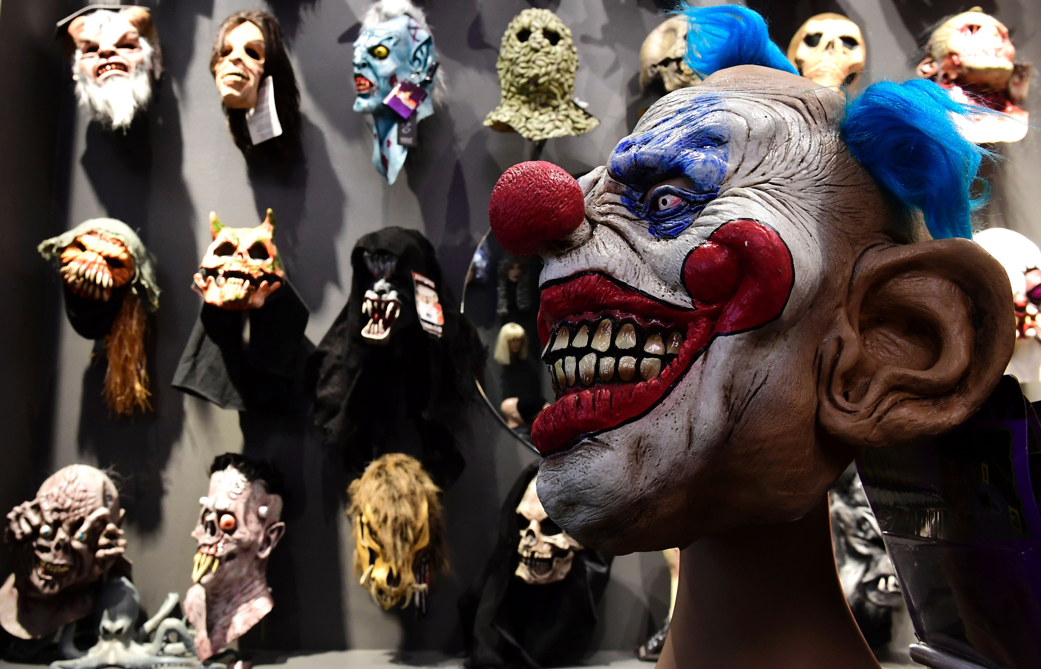 "Various masks are on sale at the ""maskworld"" costume store in Berlin"