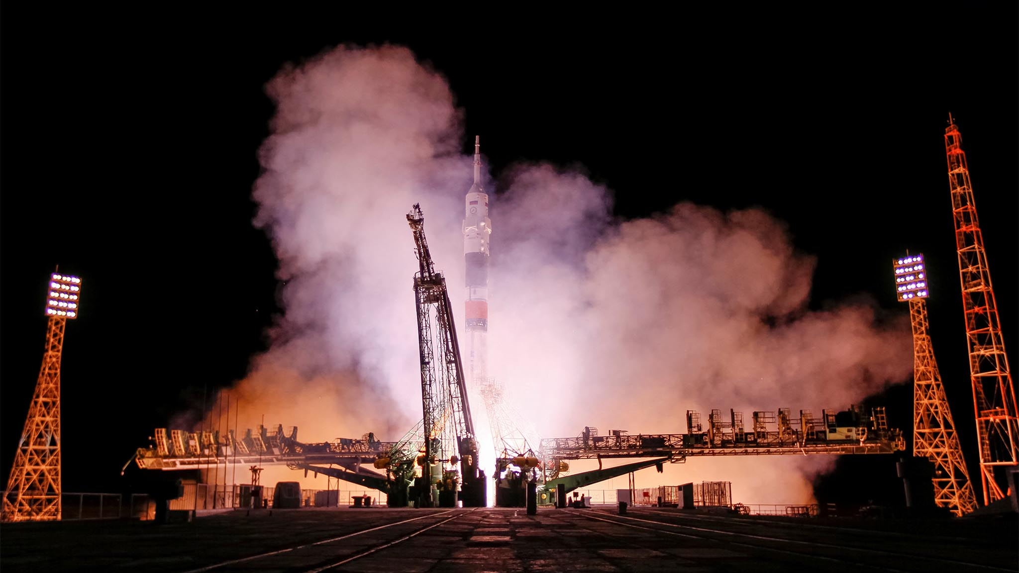 The Soyuz MS-03 spacecraft carrying the crew of Whitson of the U.S., Novitskiy of Russia and Pesquet of France blasts off to the International Space Station (ISS) from the launchpad at the Baikonur cosmodrome, Kazakhstan
