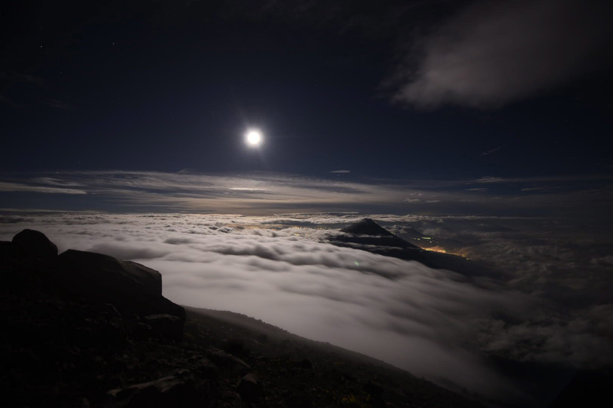 A view of the full moon over Volcan de Fuego (Volcano of Fire) Volcano, in Chimaltenango, Guatemala, 14 November 2016. The moon is the largest full moon since 1948, also known as the 'supermoon,' when the moon reaches its closest point to Earth. The next time the moon will be this close will be on 25 November 2034.  EPA/SANTIAGO BILLY