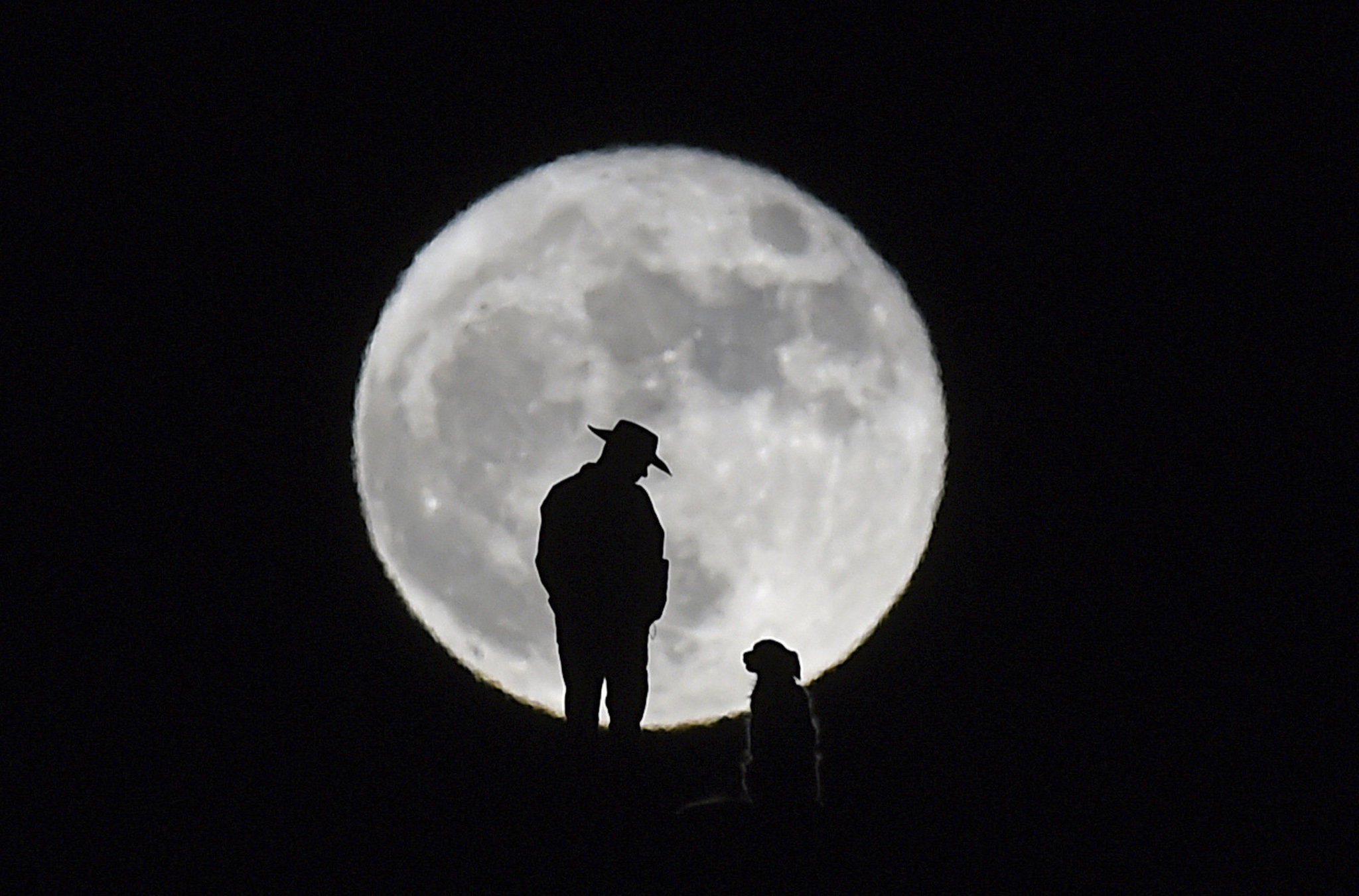 A man stands with his dog on a hill behind Shadow Mountain Sports Complex in Sparks, Nev., Monday, Nov. 14, 2016. The brightest moon in almost 69 years is lighting up the sky in a treat for star watchers around the globe. The phenomenon known as the supermoon reached its peak luminescence in North America before dawn on Monday. Its zenith in Asia and the South Pacific was Monday night. (Andy Barron/The Reno Gazette-Journal via AP)