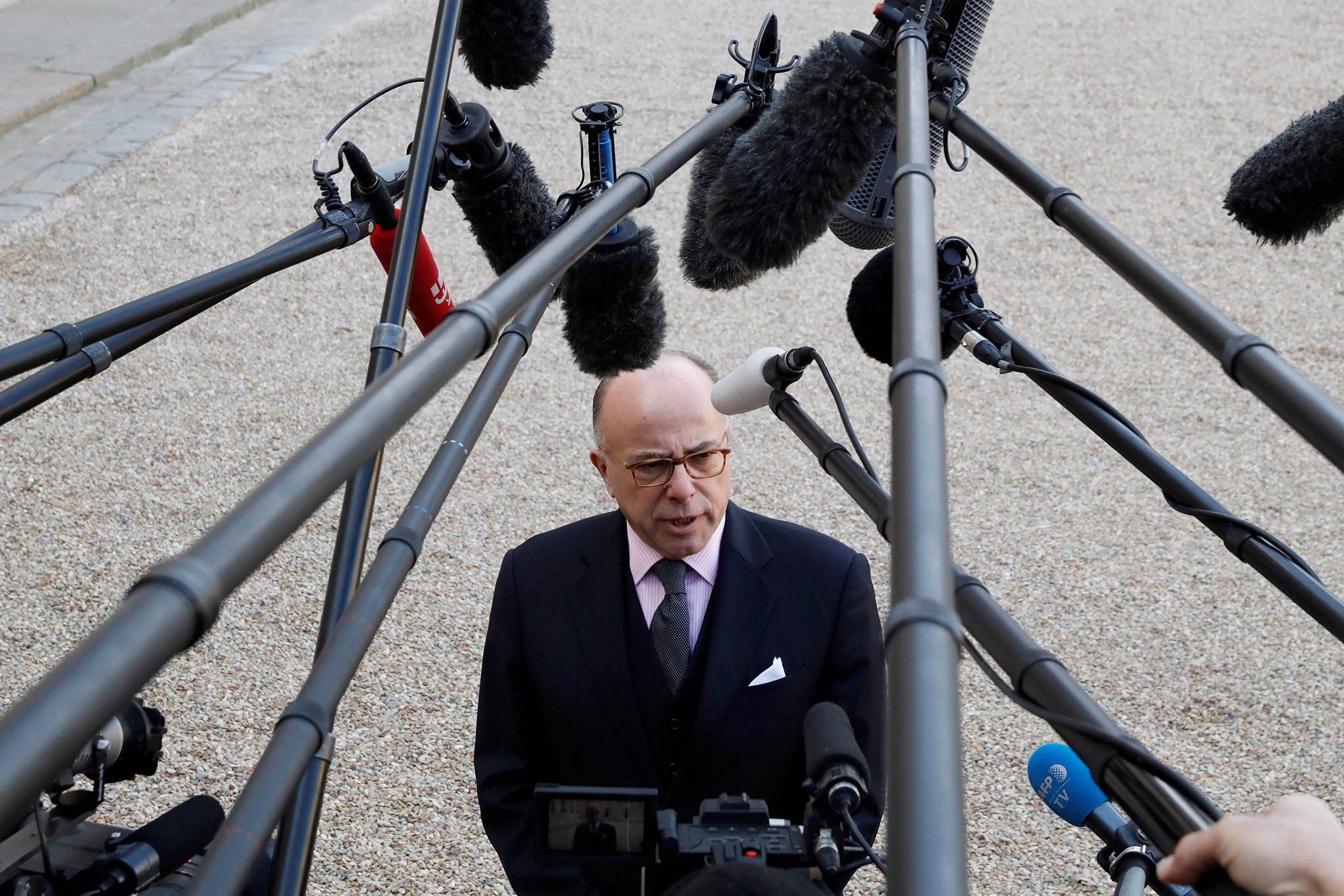 Newly appointed French Prime Minister Bernard Cazeneuve talks to journalists on December 7, 2016 after their first cabinet meeting at the Elysee Palace in Paris. / AFP PHOTO / Patrick KOVARIKPATRICK KOVARIK/AFP/Getty Images
