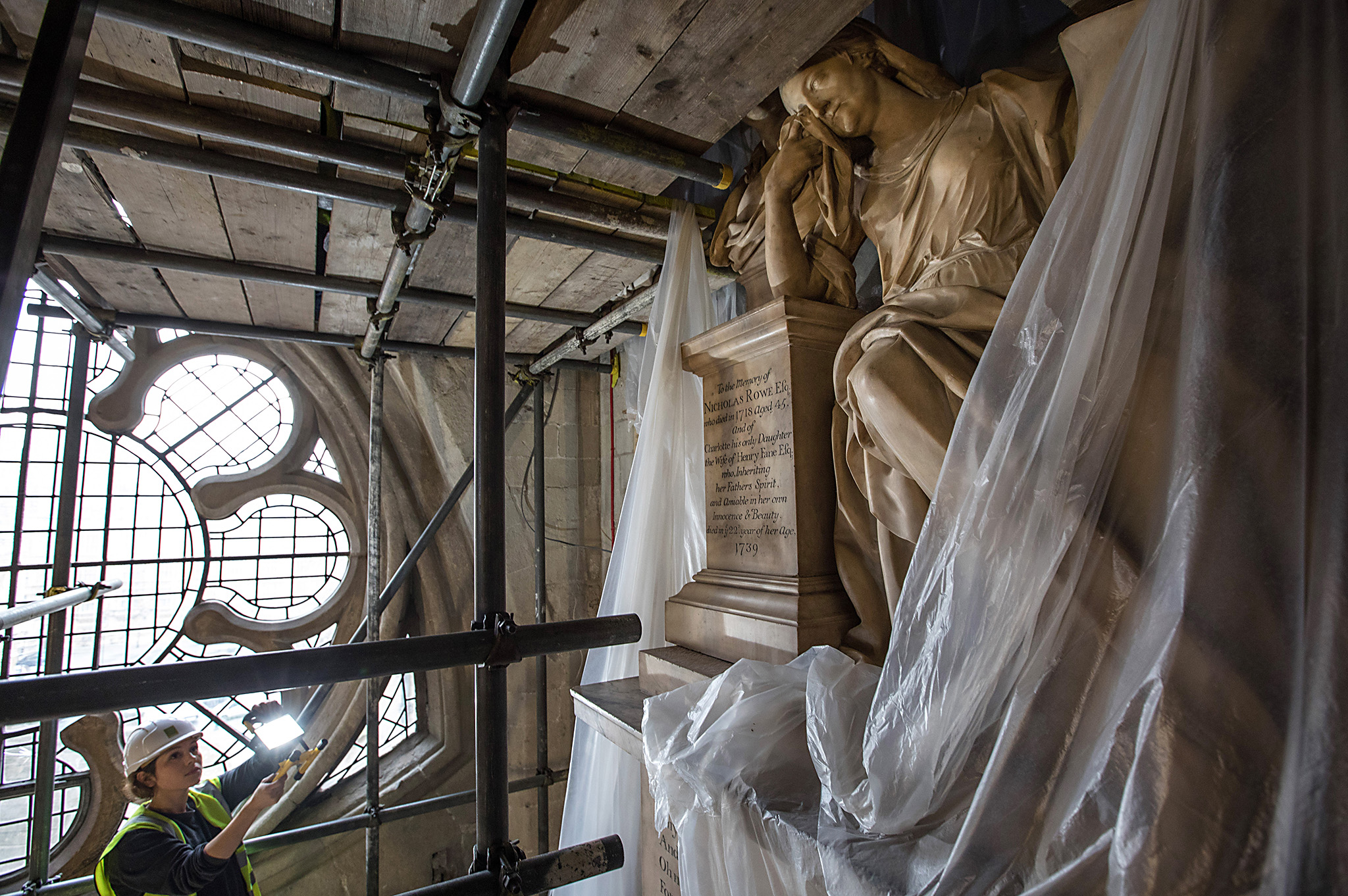 A statue is covered during restoration work at Westminster Abbey on December 9, 2016 in London, England. Restoration work is continuing to transform part of the 13th-century Triforium into a new viewing and gallery area that will be open to the public for the first time. As well as exhibiting many historical objects from the abbey, the new £19m GBP space will give visitors views down over the abbey buildings and the neighbouring Palace of Westminster. The work is due to be completed by 2018.  (Photo by Dan Kitwood/Getty Images)