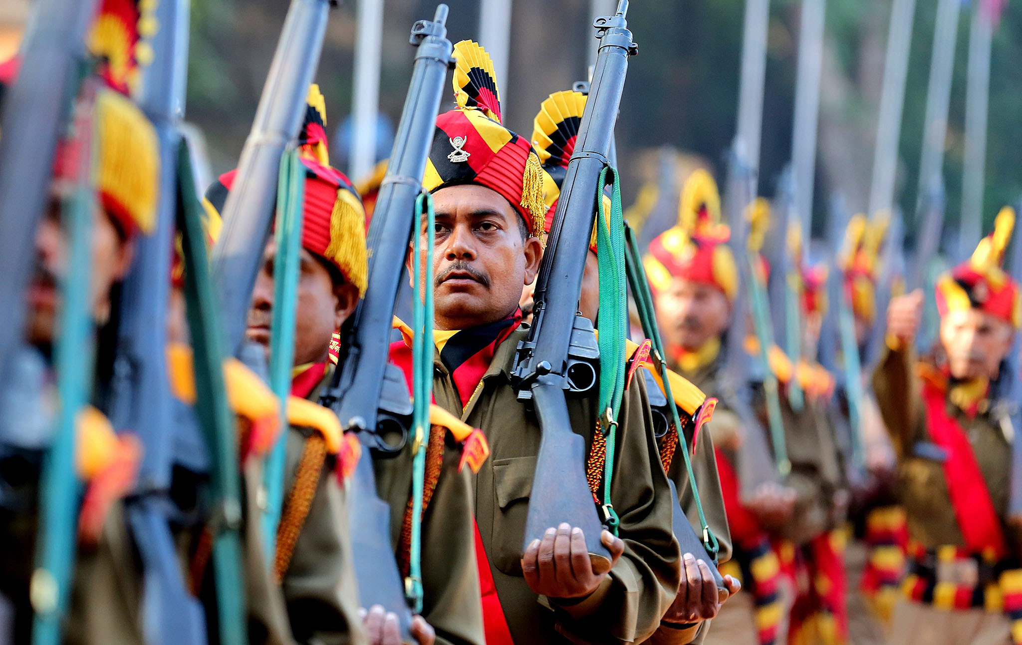Indian state of Madhya Pradesh police Home Guards and civil defense contigents take part in a parade held to mark the 70th anniversary of the Home Guards' founding in Bhopal, India, 06 December 2016. The Home Guards is an Indian paramilitary voluntary force, which serve as an auxiliary to the police and assist in maintaining internal security and the community in any kind of emergency in air raids, fire, floods, and epidemics, natural disaster and other calamities.  EPA/SANJEEV GUPTA