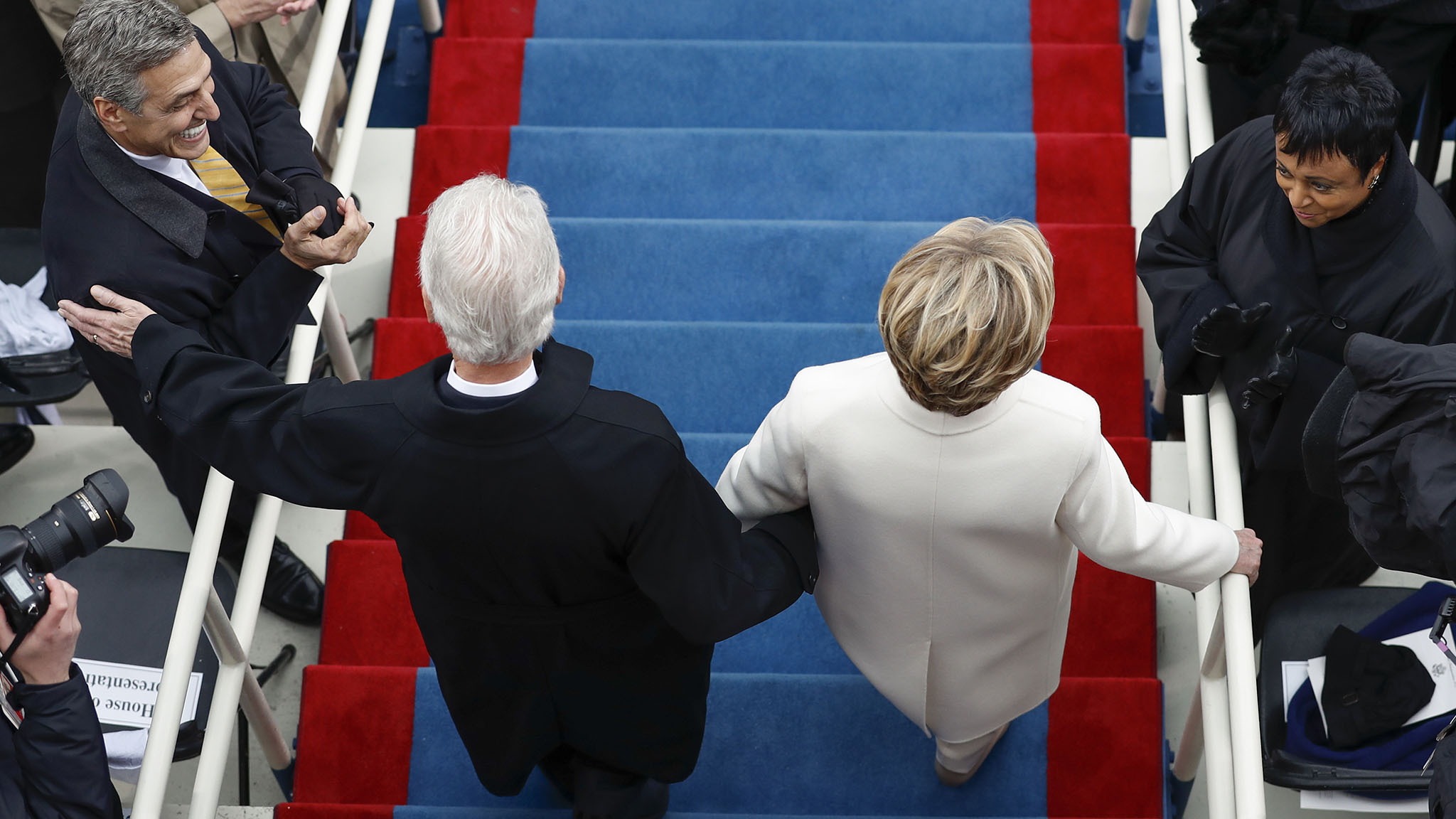 Former President Bill Clinton and Hillary Clinton arrive during the 58th Presidential Inauguration at the U.S. Capitol in Washington, Friday, Jan. 20, 2017. (AP Photo/Carolyn Kaster)