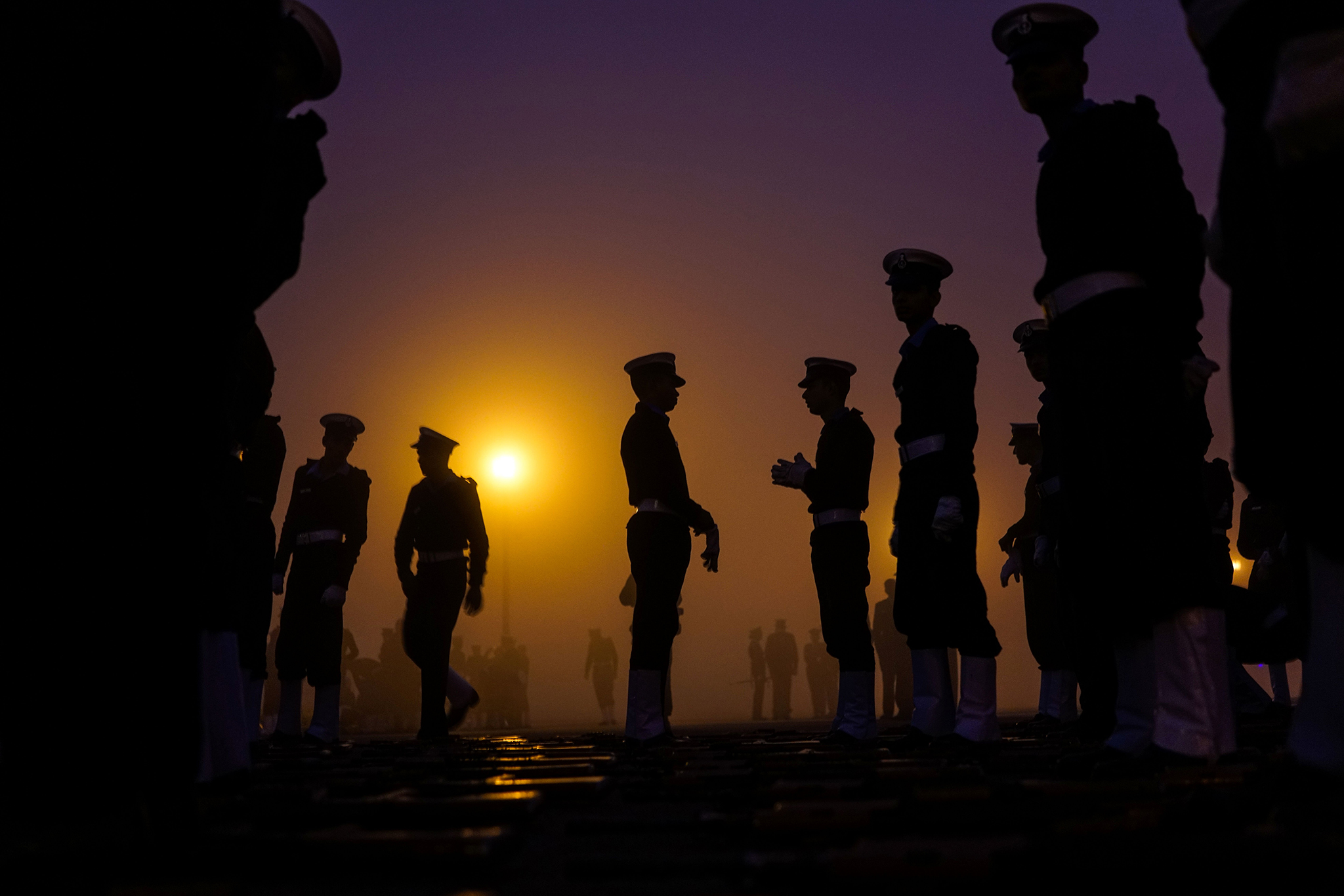 Indian military personnel prepare to march as they rehearse for the forthcoming Republic Day parade at Rajpath in New Delhi on January 3, 2017. India will celebrate its 68th Republic Day on January 26 with a large military parade.  / AFP / CHANDAN KHANNA        (Photo credit should read CHANDAN KHANNA/AFP/Getty Images) *** BESTPIX ***