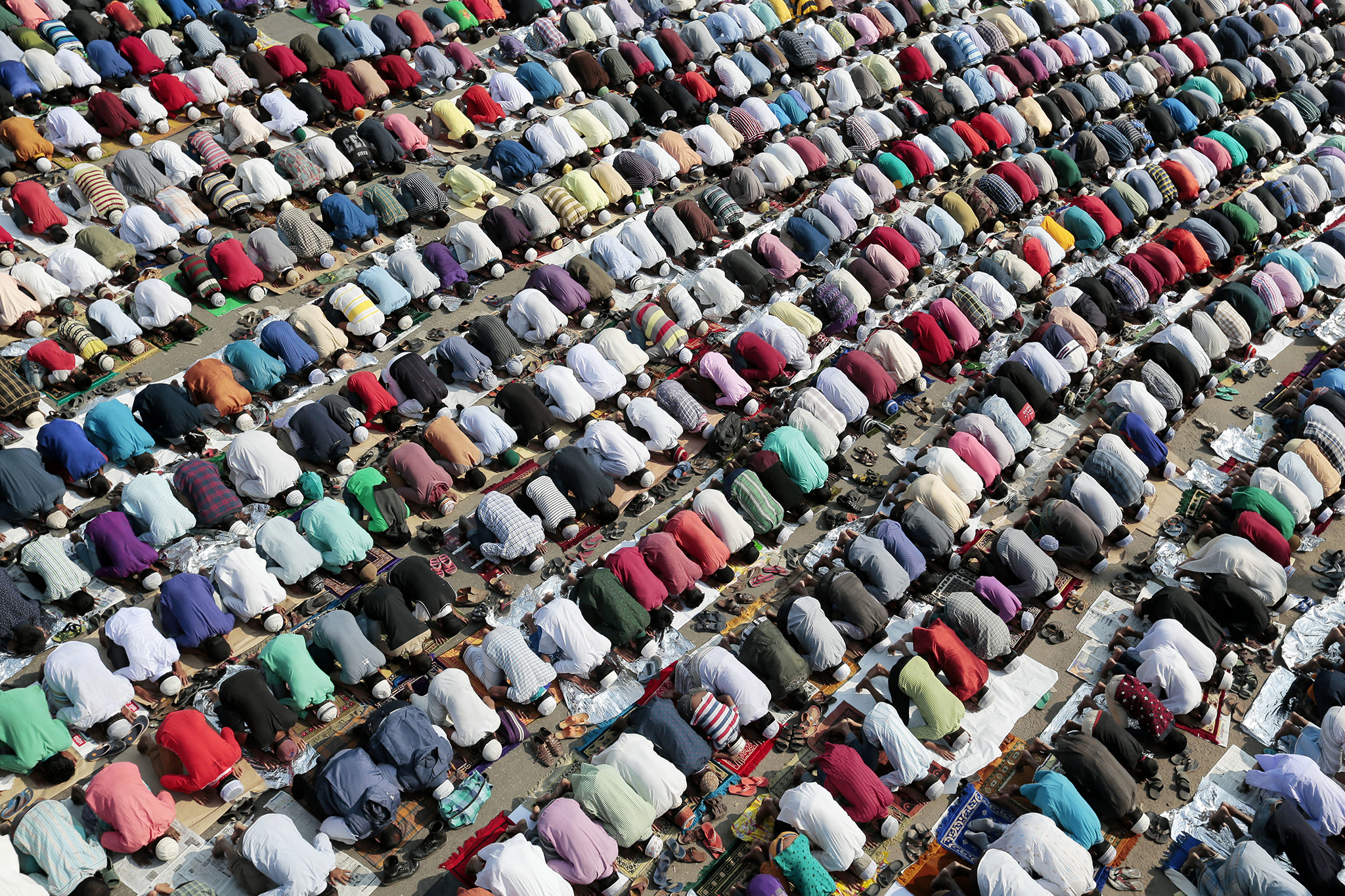 Bangladeshi Muslim devotees offer prayers on the first day of the three-day Islamic congregation in Tongi, about 20 kilometers (13 miles) north of Dhaka, Bangladesh