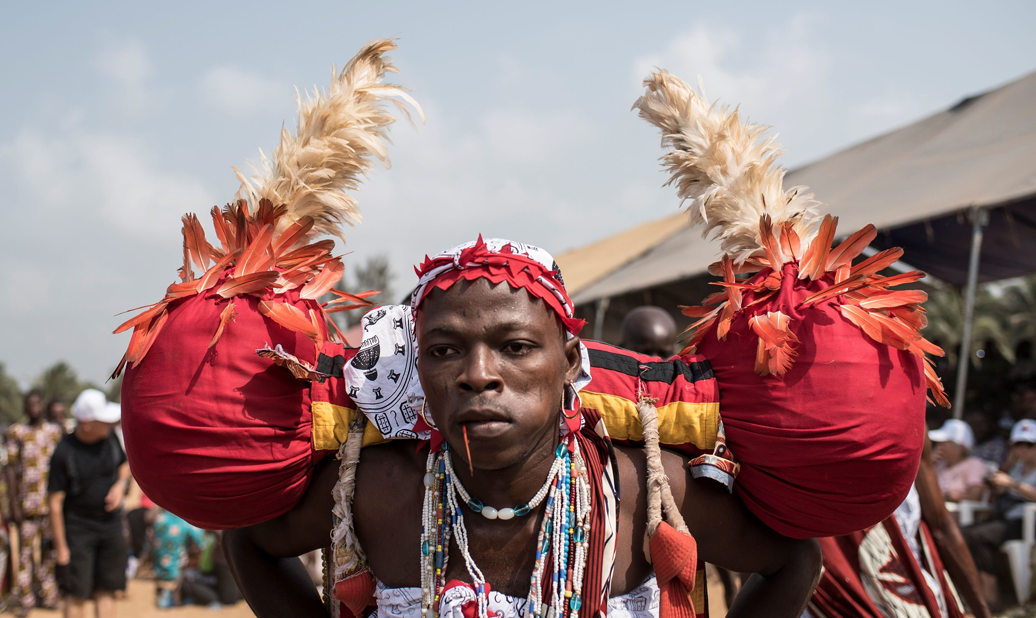 A Voodoo devotee performs on a beach at the annual Voodoo Festival on January 10, 2017 in Ouidah.  Officially declared a religion in Benin in 1996, Voodoo and the Voodoo festival attracts thousands of devotees and tourists for a day filled with ritual dances and gin drinking. Benins voodoo festival is held every year and is the West African countrys most vibrant and colourful event. / AFP PHOTO / STEFAN HEUNISSTEFAN HEUNIS/AFP/Getty Images