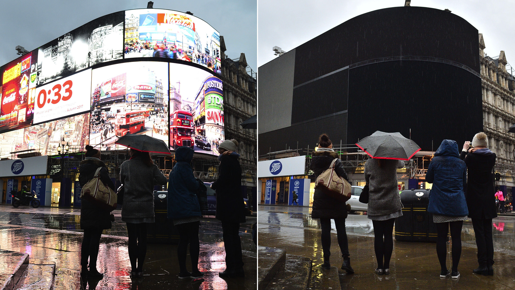 Police watch as the advertising screens at Piccadilly Circus, central London, after they were switched off in preparation for redevelopment. PRESS ASSOCIATION Photo. Picture date: Monday January 16, 2017. The iconic lights have gone out so that the electronic hoardings can be replaced with a state-of-the-art screen measuring 790 square metres which is expected to be unveiled in the autumn. See PA story TECHNOLOGY Piccadilly. Photo credit should read: Dominic Lipinski /PA Wire