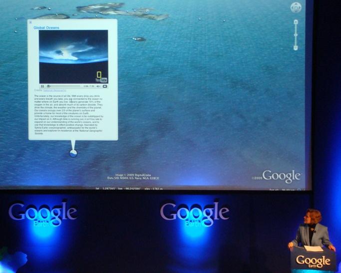Sylvia Earle demonstrates Ocean in Google Earth